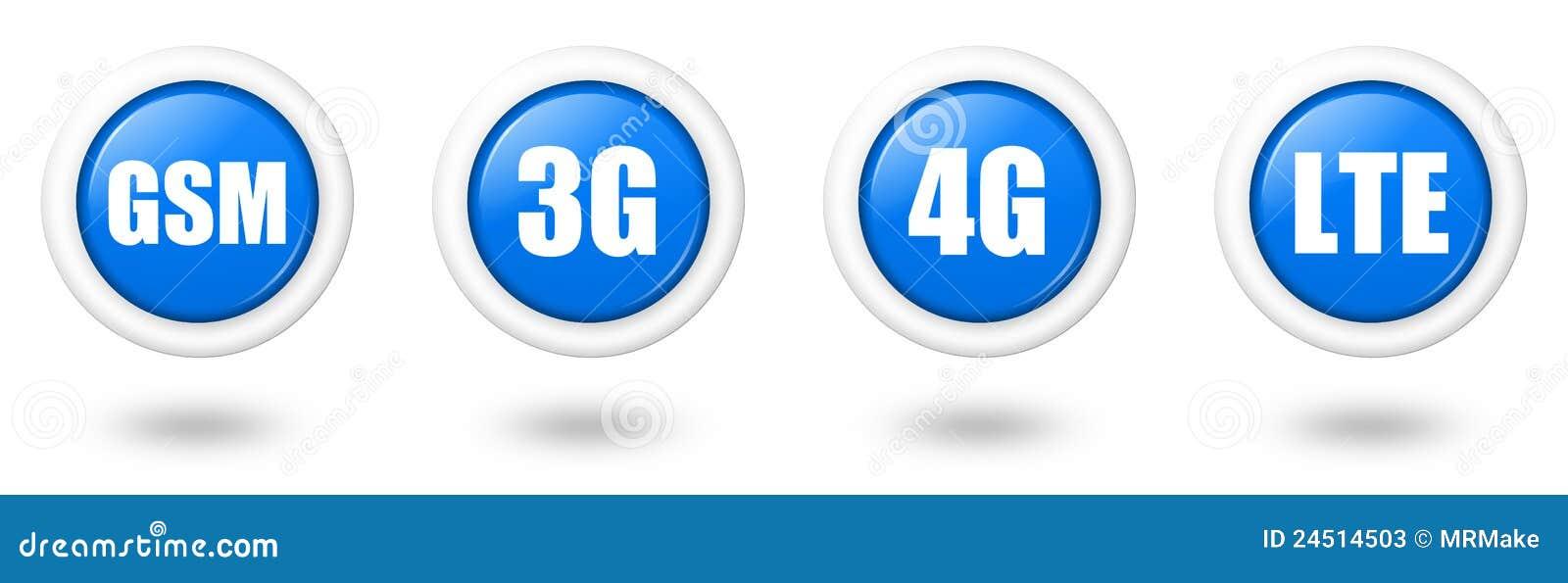 3g 4g błękitny gsm ikony lte se telekomunikacja