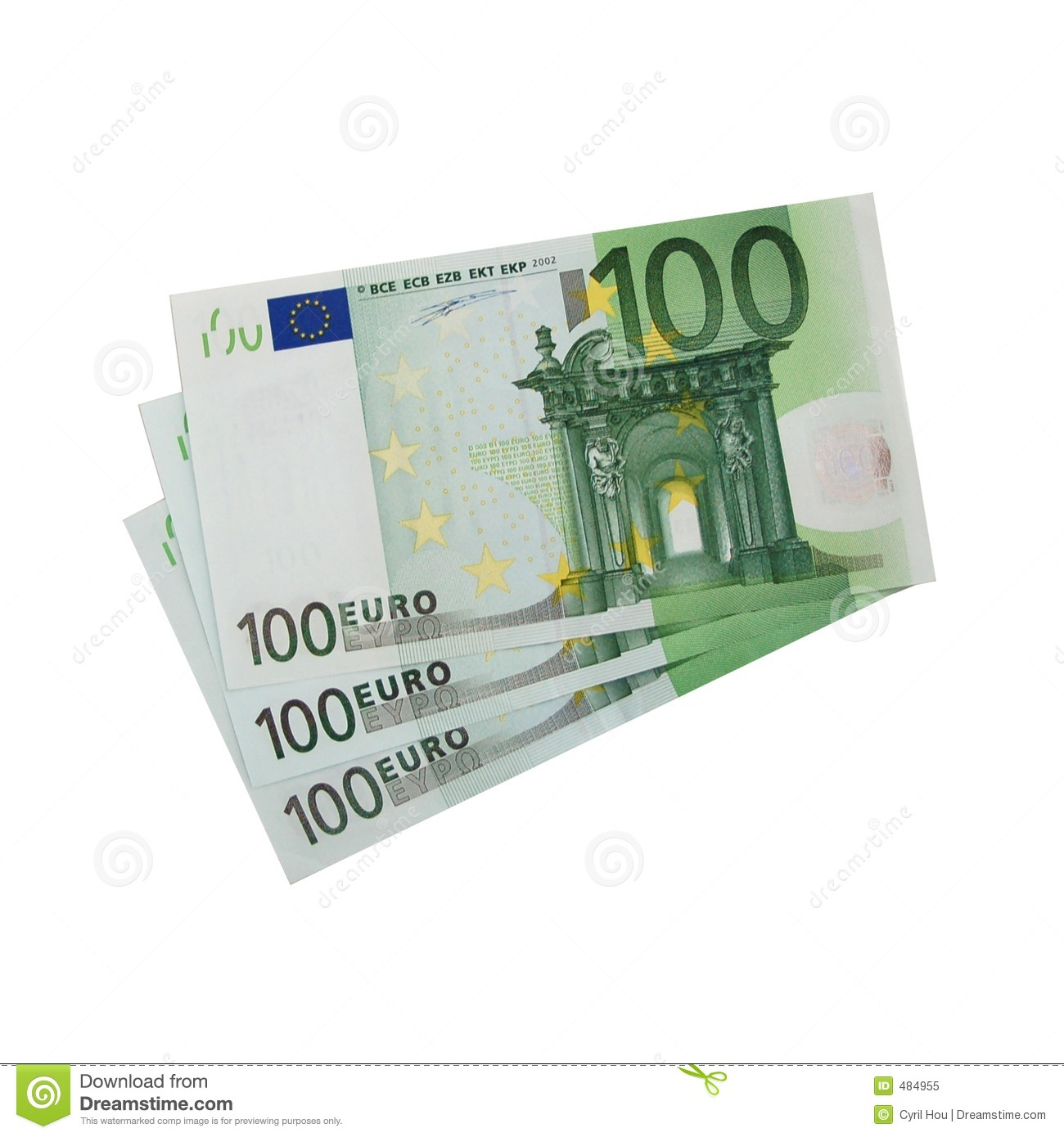 3x 100 euro bills isolated royalty free stock photo for Canape a 100 euros
