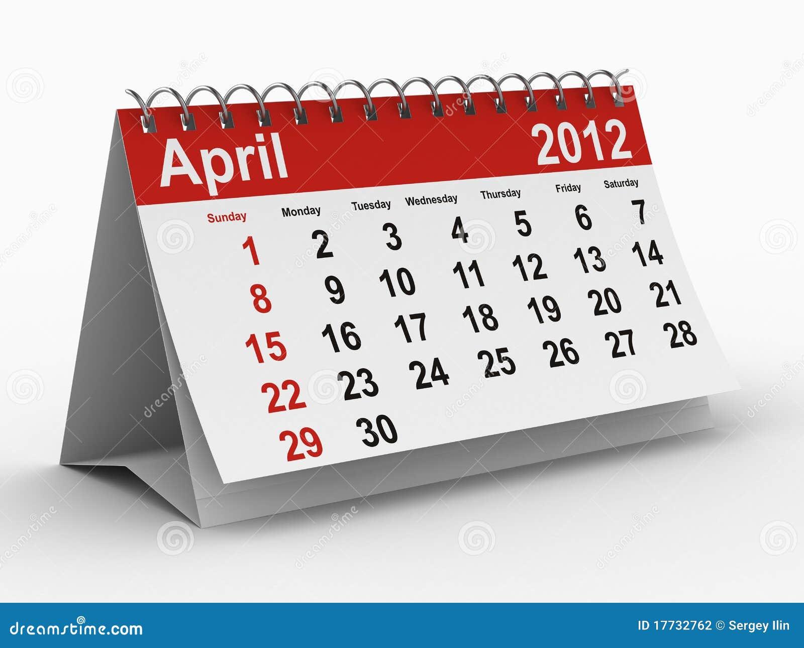 4月2012日日历年度