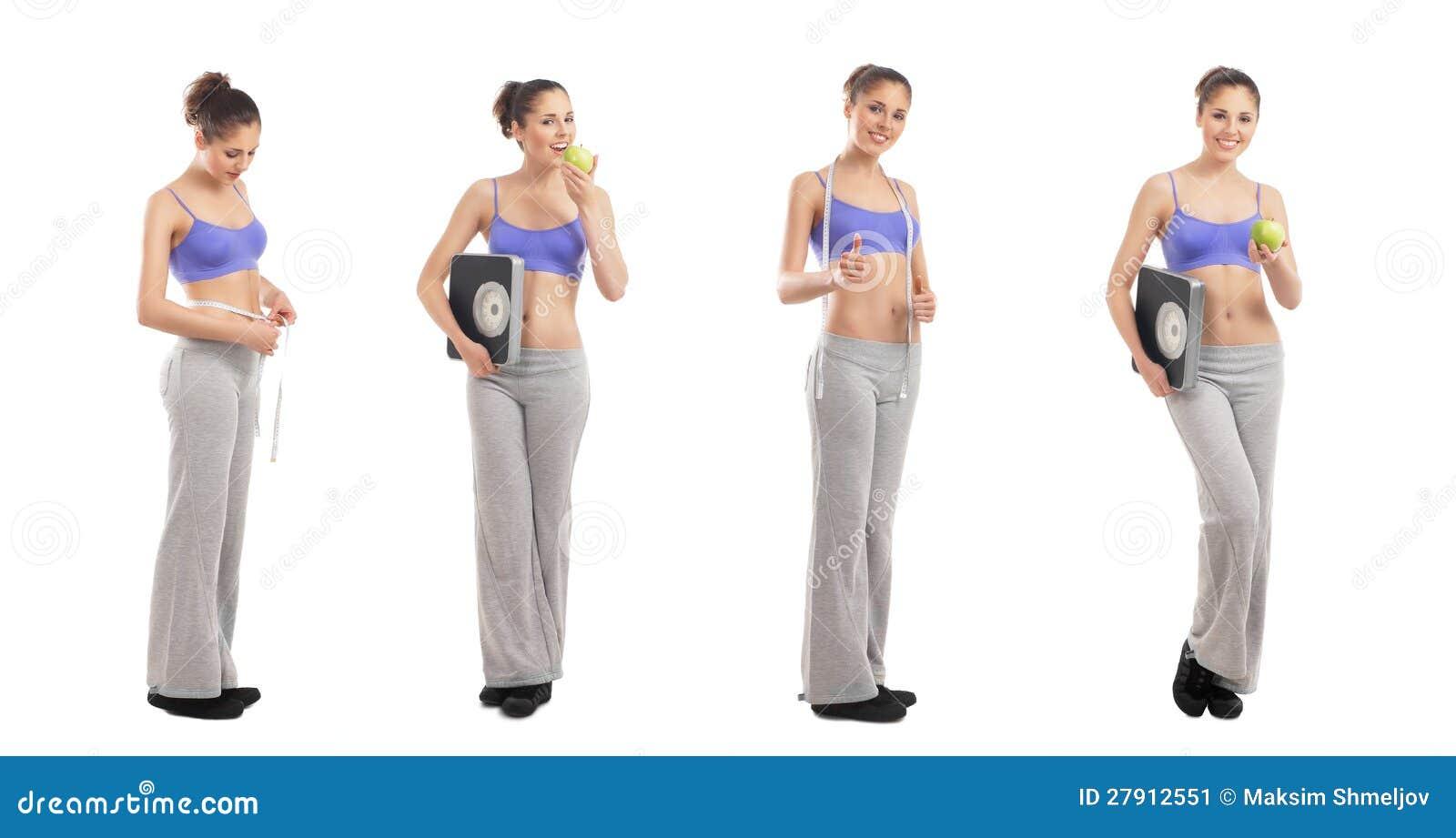 4 молодой женщины в sporty одеждах держа яблока
