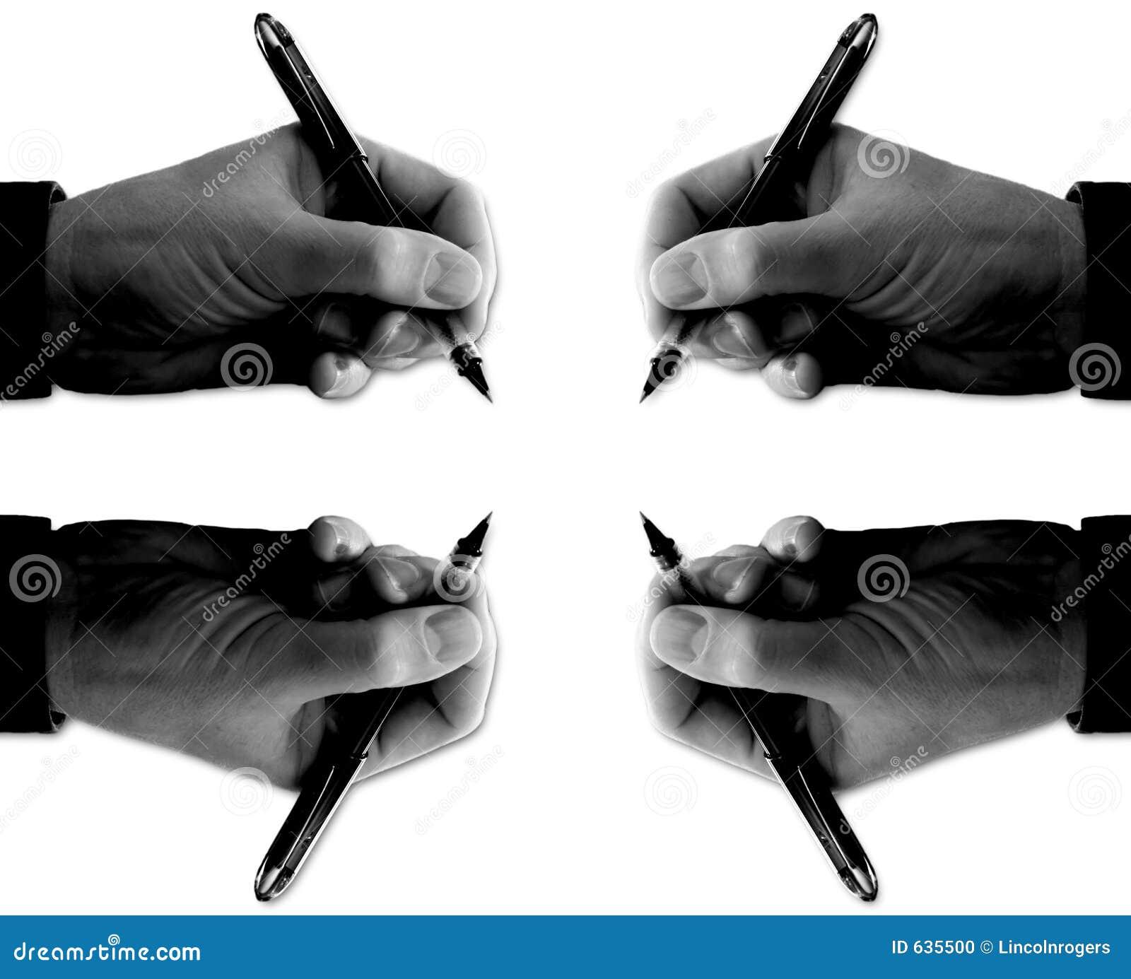Download 4 руки над перями подписывая белизну Стоковое Фото - изображение насчитывающей дело, банджо: 635500