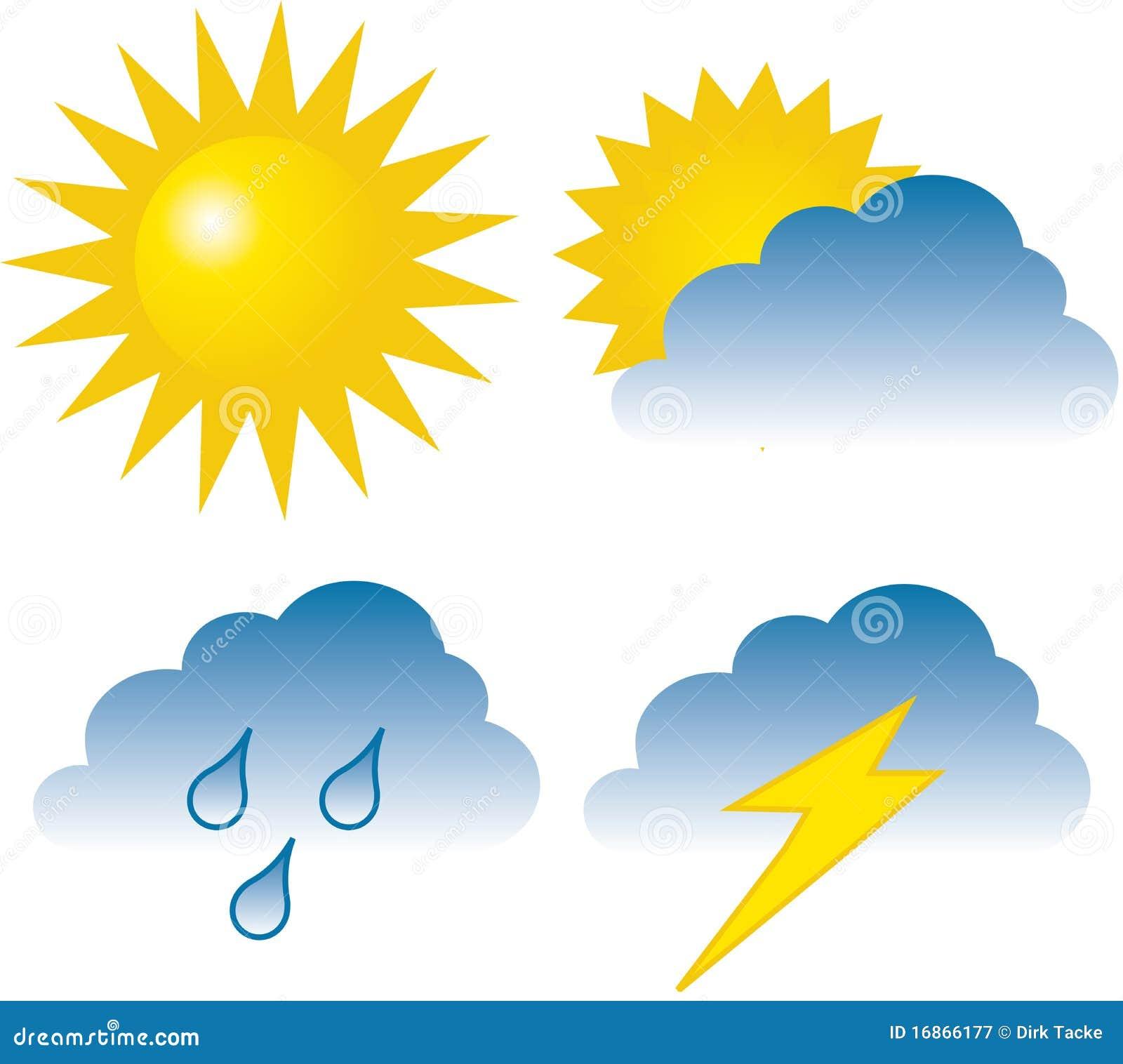 雨天天气气象符号-晴天天气标志