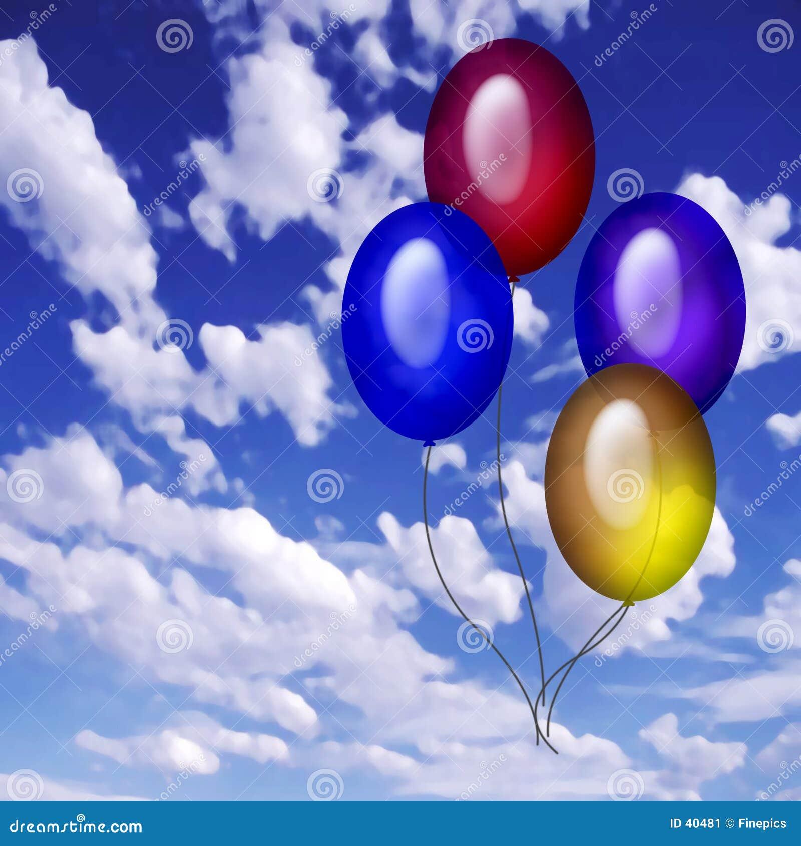 4 baloons niebo