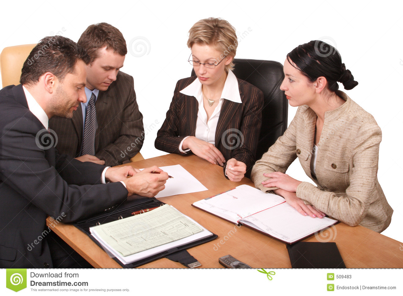 4 business isolated meeting persons