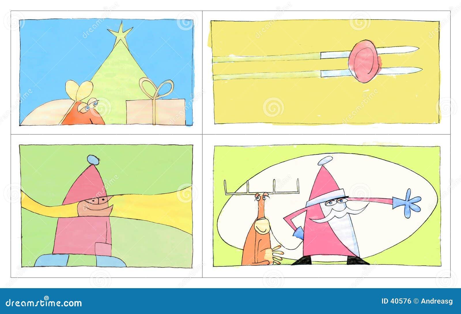 4 cartes postales de Noël