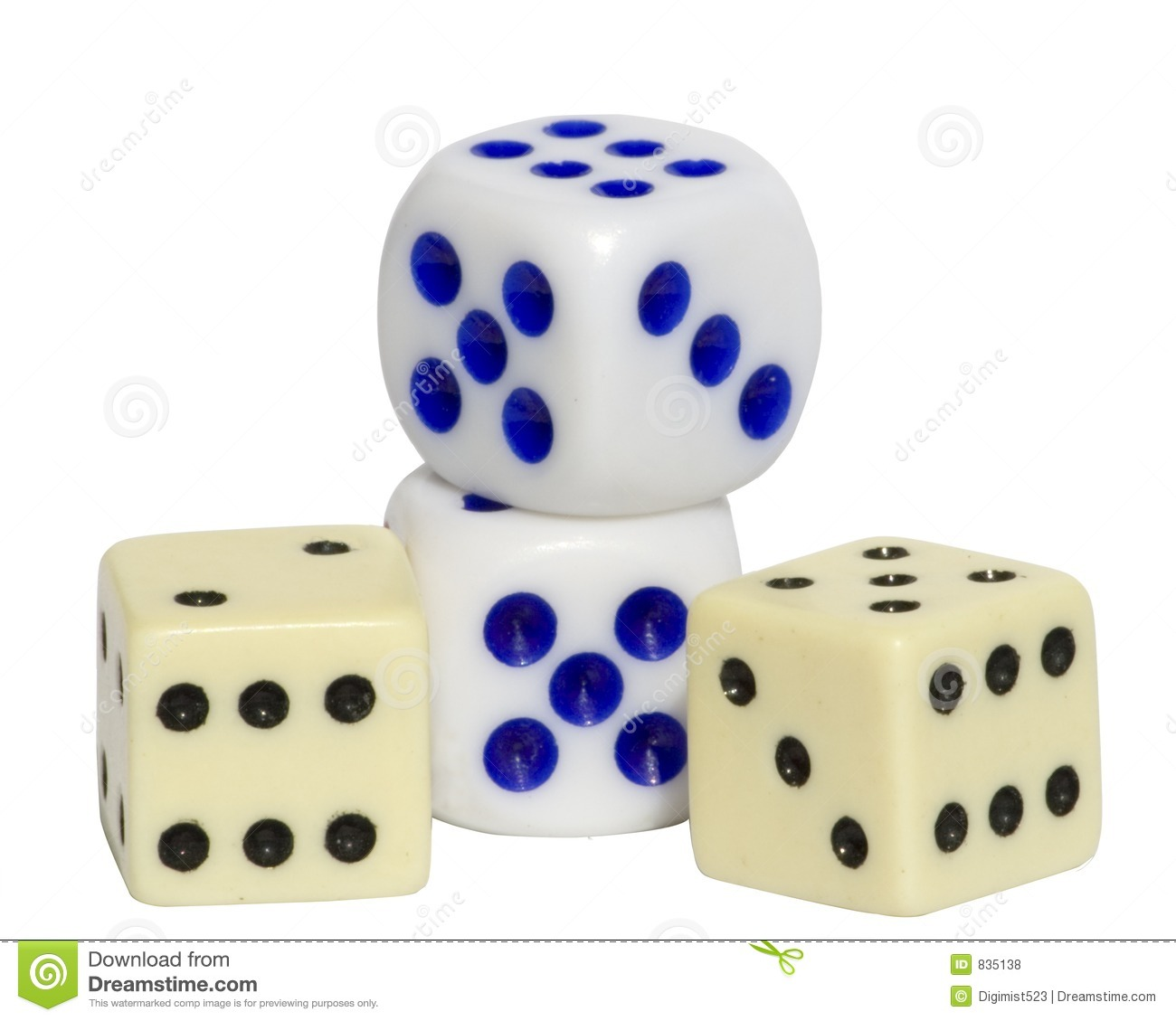 4 Dice with Clipping Path