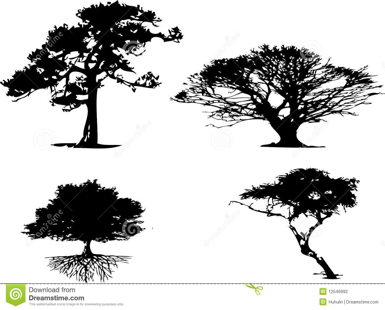 4 Different Types Of Tree Silhouette Stock Vector Image