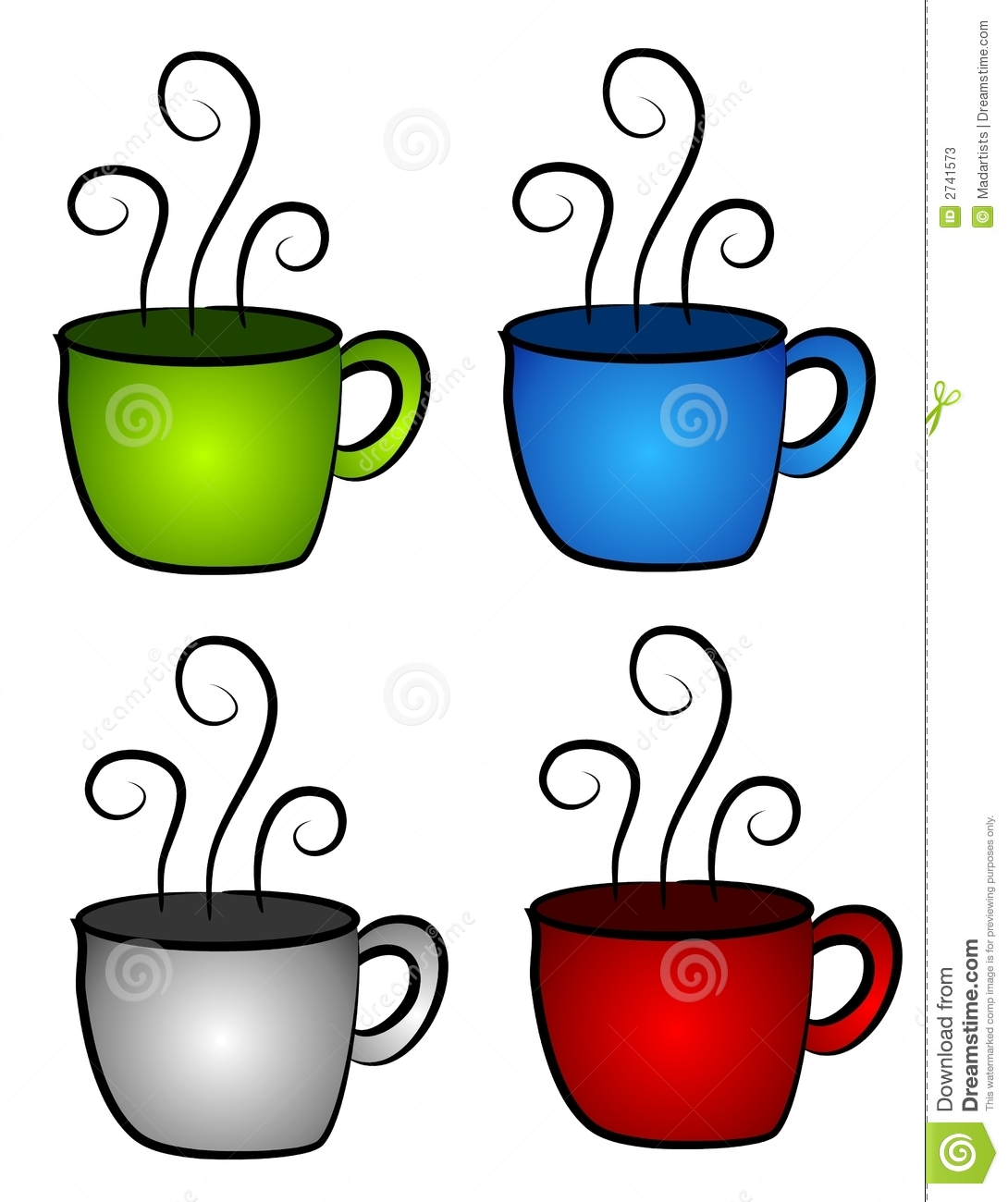 4 Hot Coffee or Tea Cups stock illustration. Illustration ...