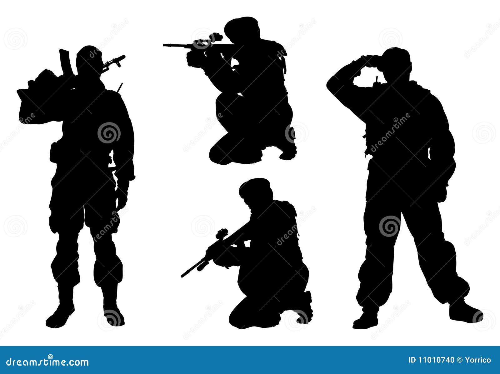 4 mężczyzna wojskowego sylwetki