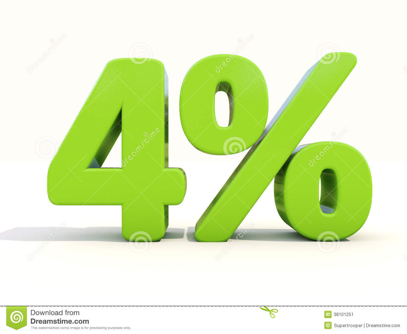 4 percentage rate icon on a white background stock image for Autocertificazione iva 10