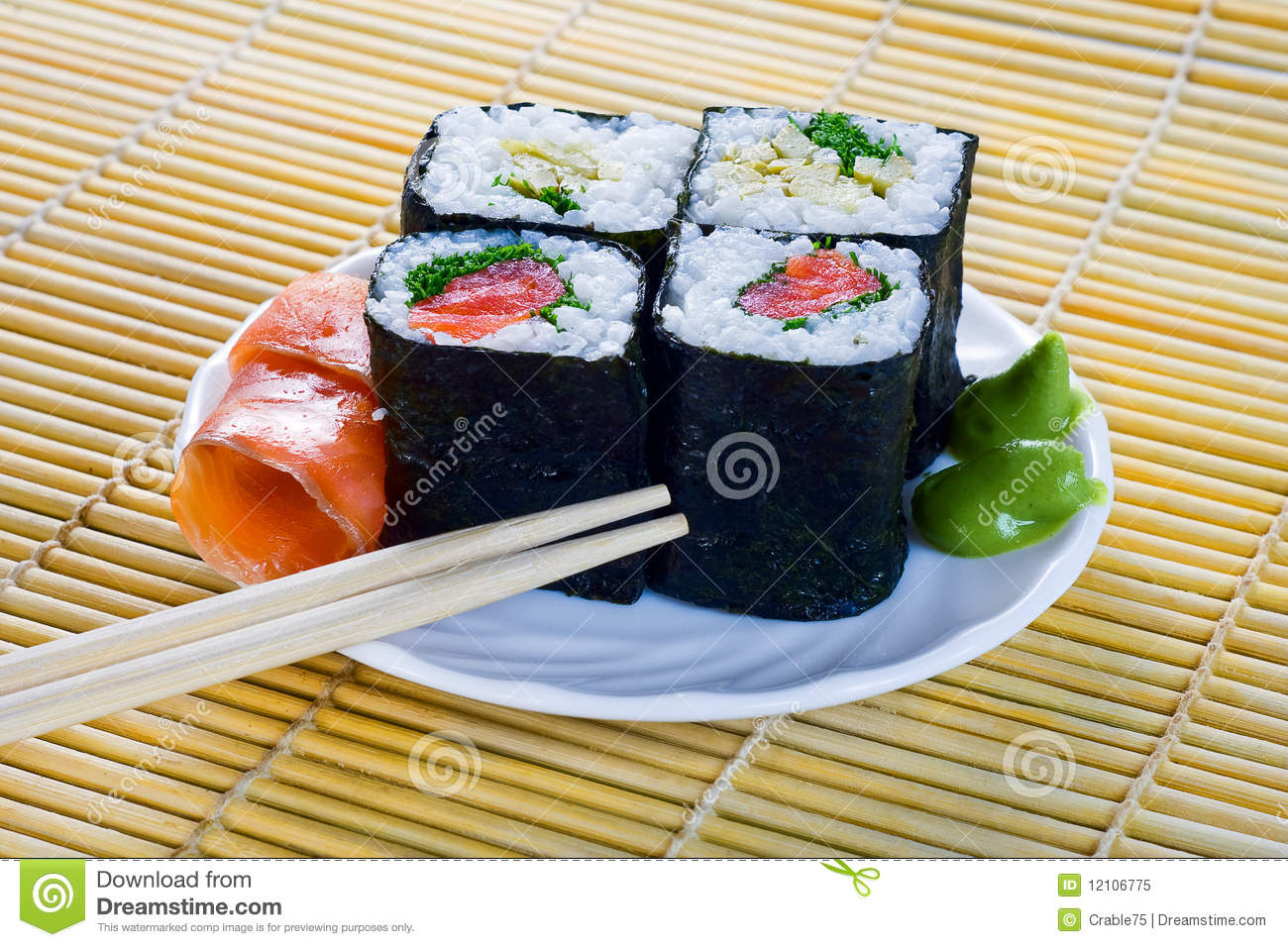 4 rolls of sushi with fish royalty free stock photo for Where to buy fish for sushi