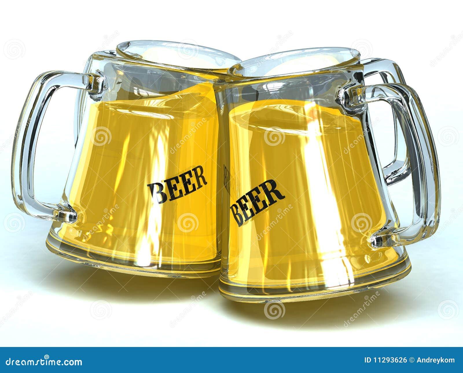 4 Tarros De La Cerveza Stock De Ilustración. Ilustración