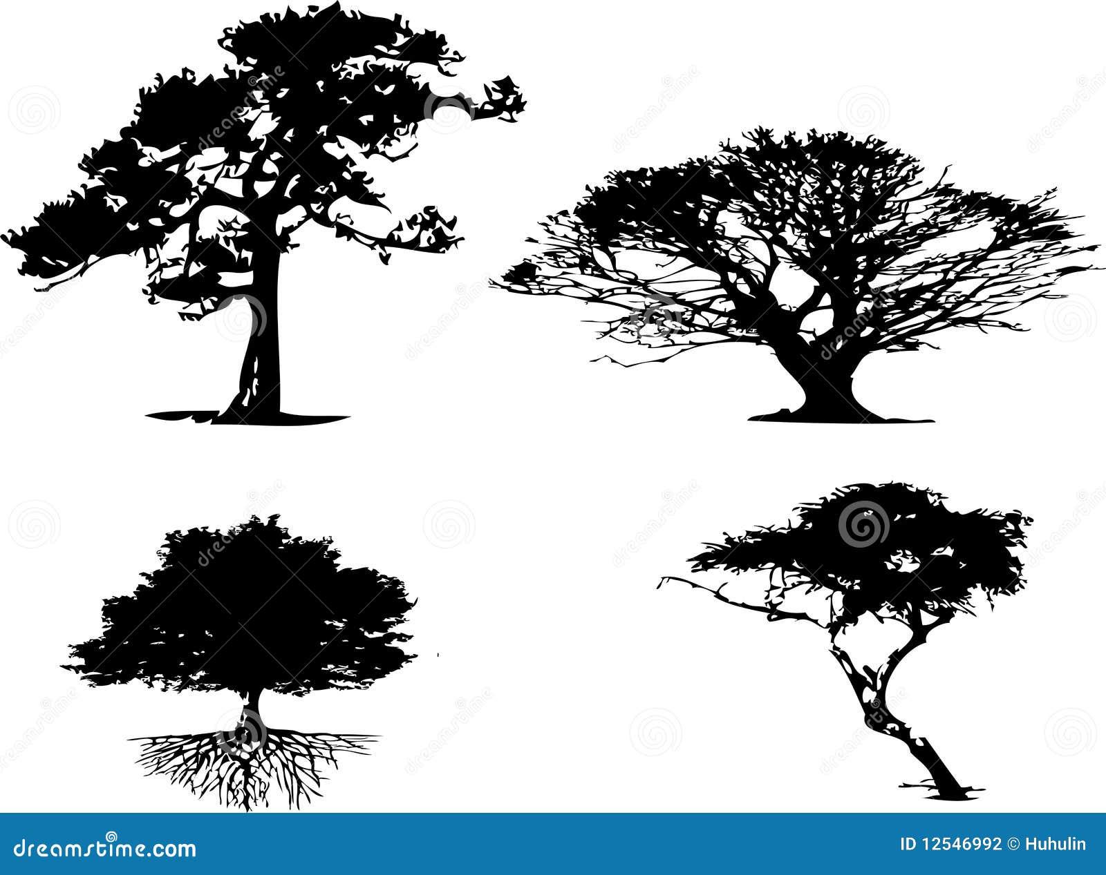 4 types diff rents de silhouette d 39 arbre photographie - Differents types de poubelles ...