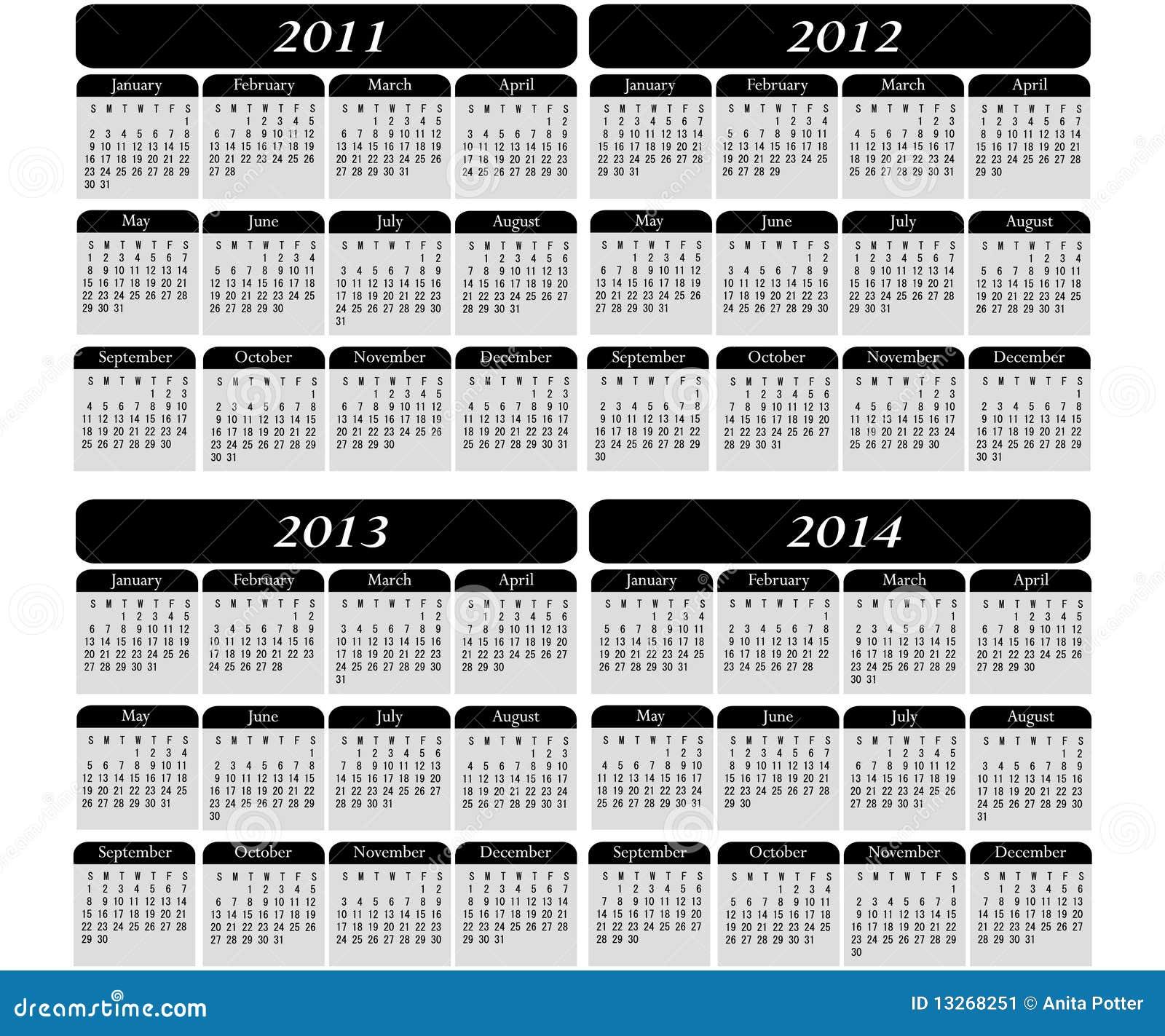 4 Year Calendar On Black Stock Image - Image: 13268251