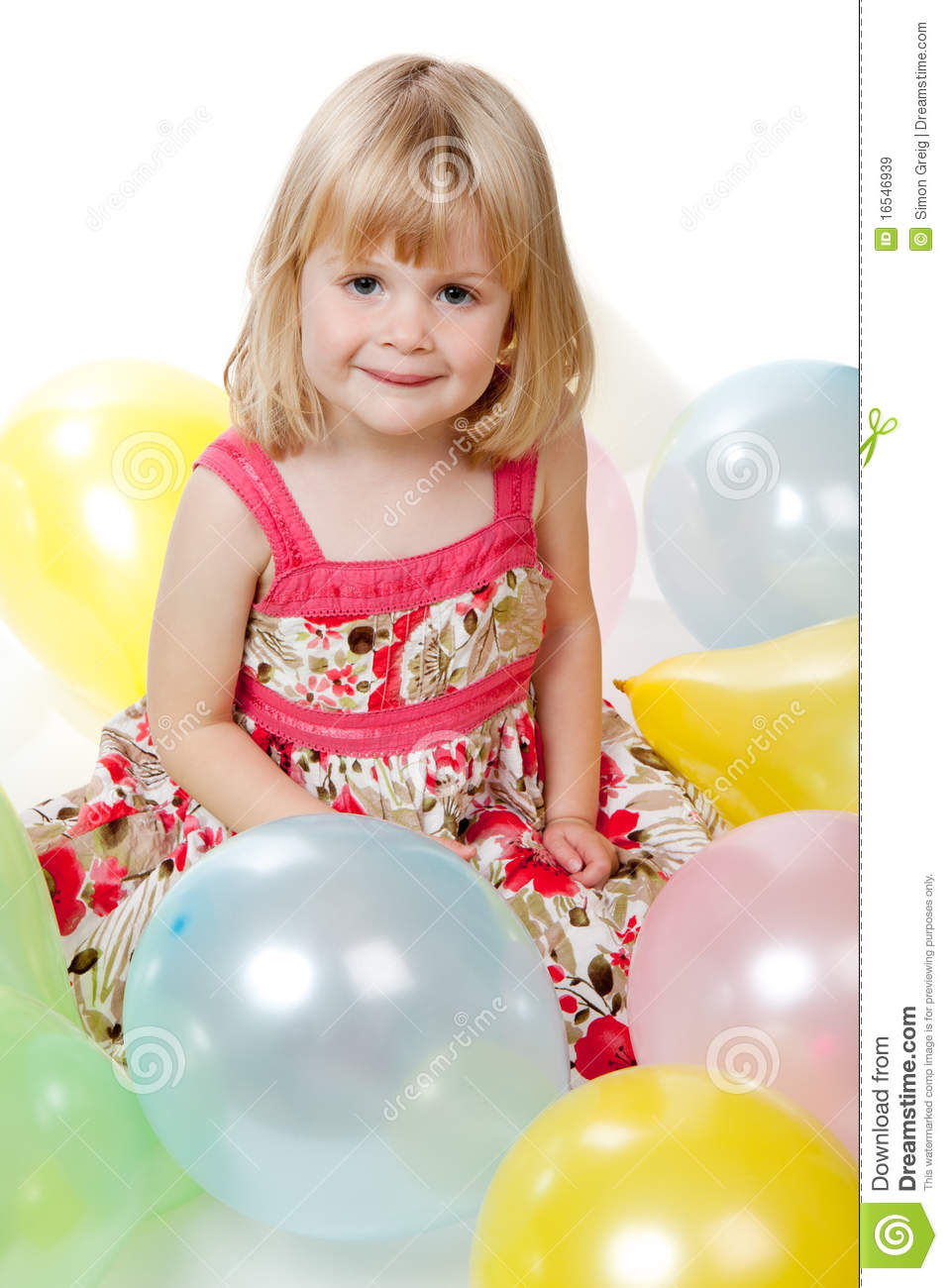 Four Year Two Year Community: 4 Year Old Girl Sitting With Balloons Royalty Free Stock