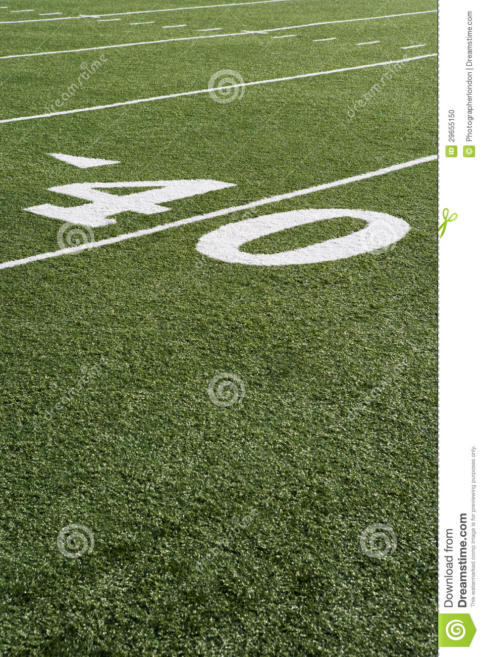 40 Yard Line On American Football Field Stock Photo  Image 29655150