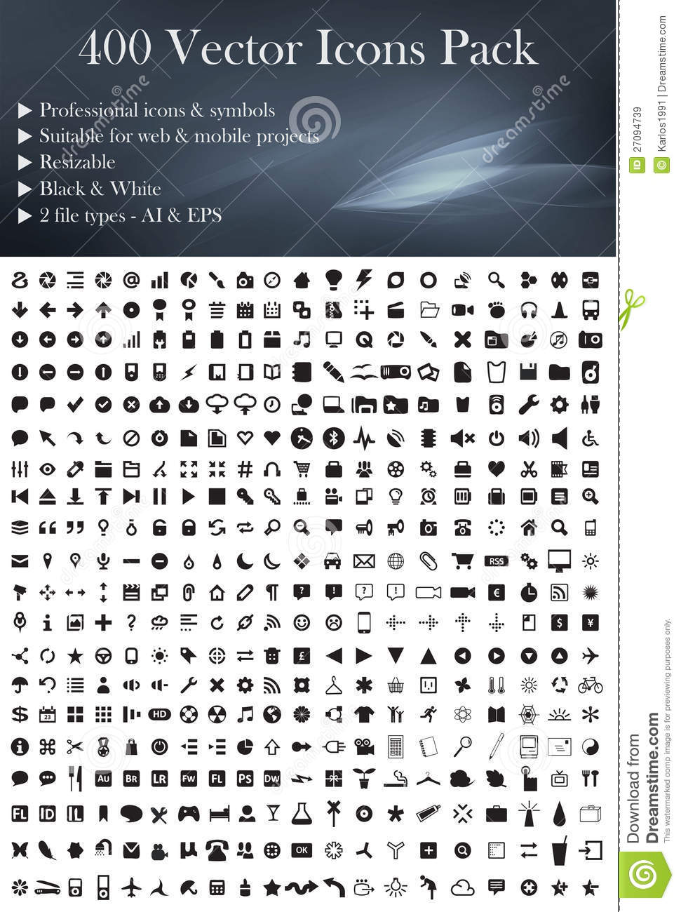 400 Vector Icons Pack (Black Version)