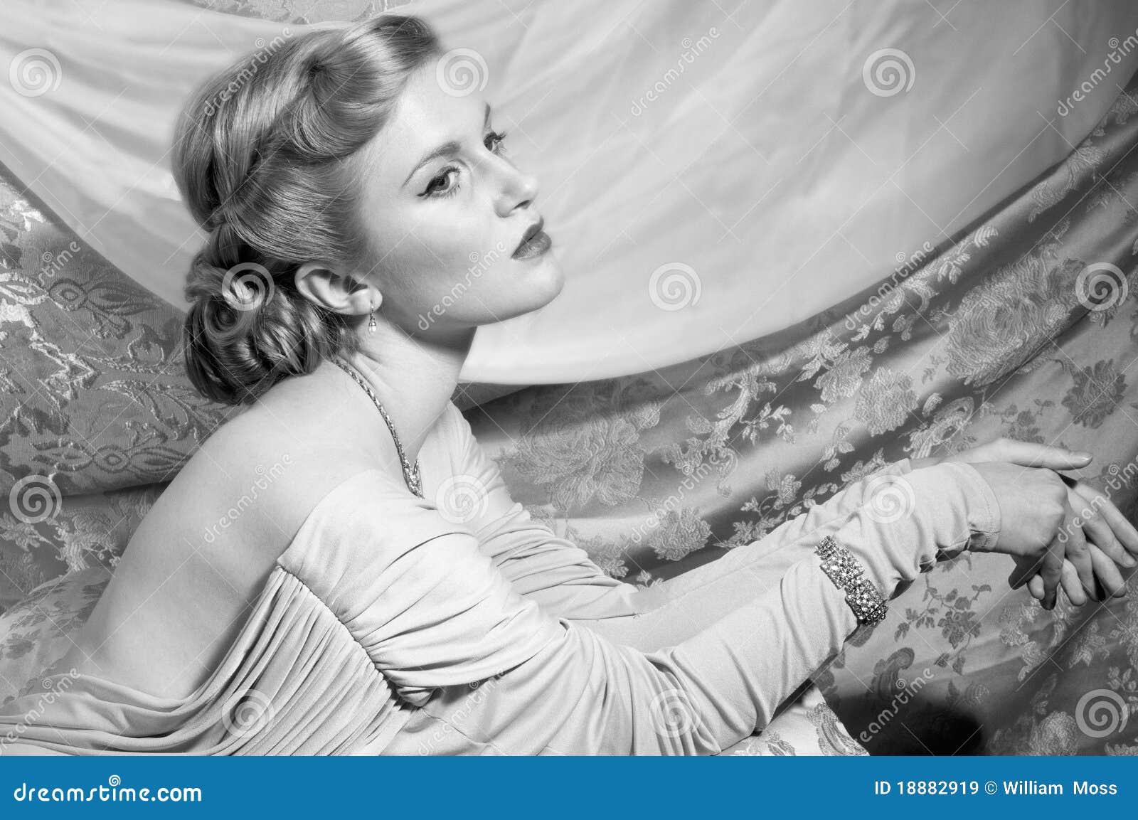 40s Style Pin-Up Shot stock image. Image of beautiful ...