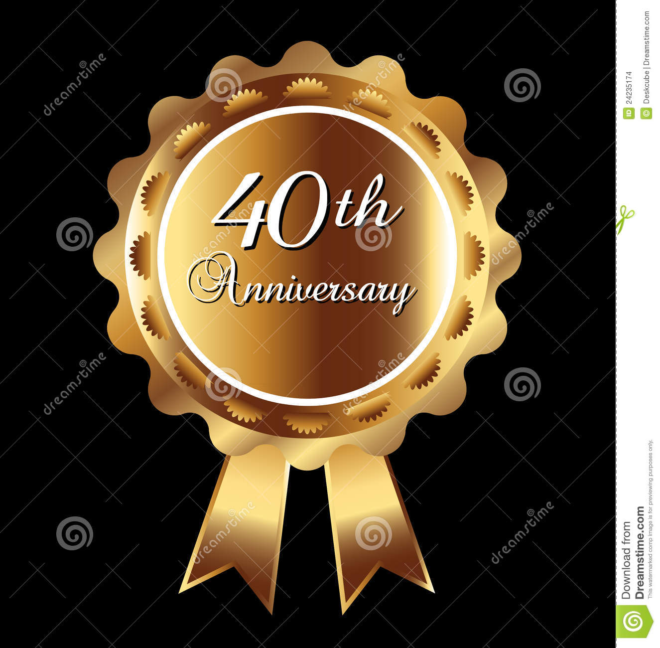 40th anniversary medal stock vector. Image of isolated ...