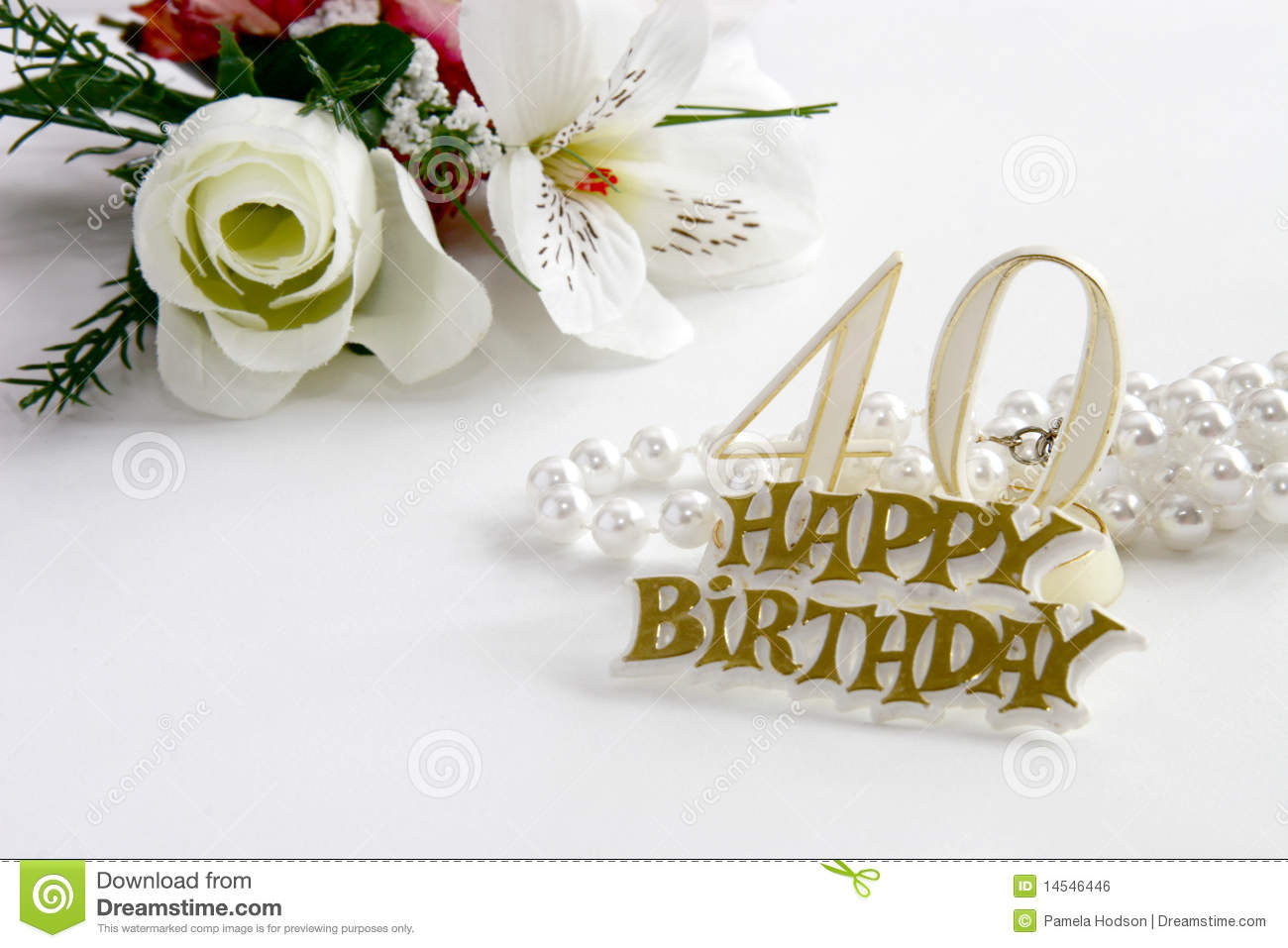 40th birthday sign with pearls and silk rose royalty free