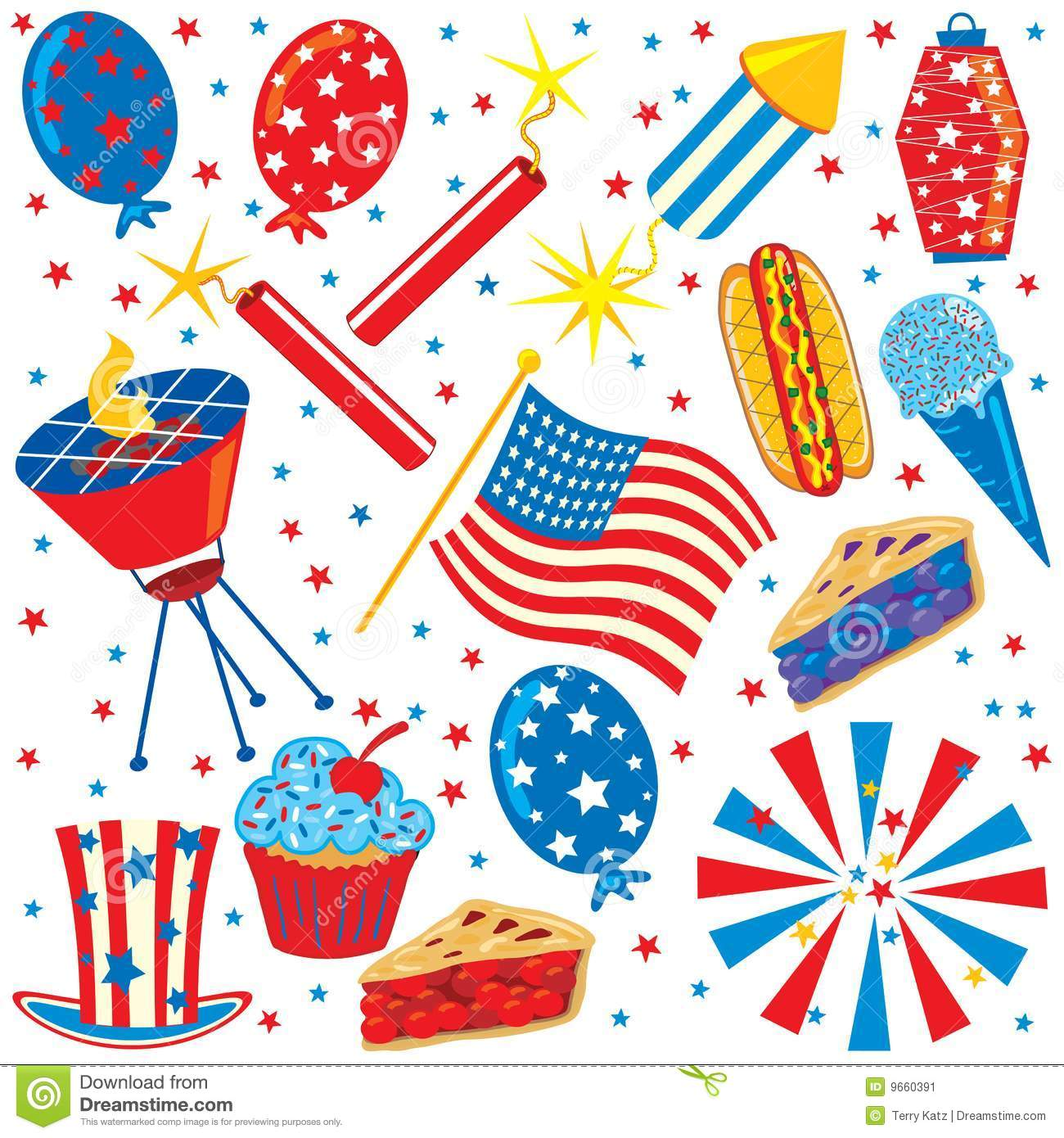 4th Of July Clip Art Party Elements Stock Illustration - Image: 9660391