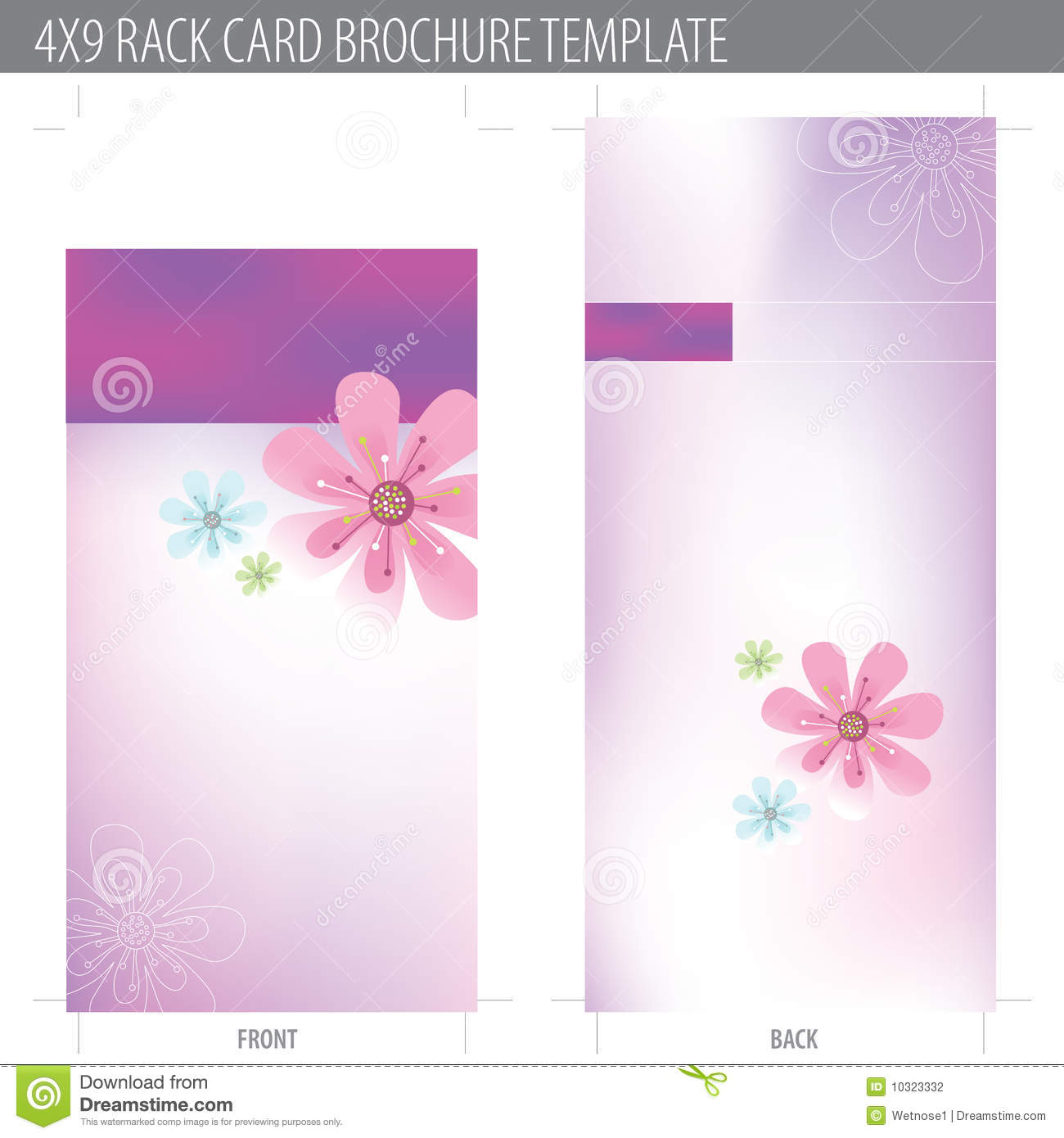 4x9 rack card brochure template stock vector illustration of flower corporate 10323332. Black Bedroom Furniture Sets. Home Design Ideas