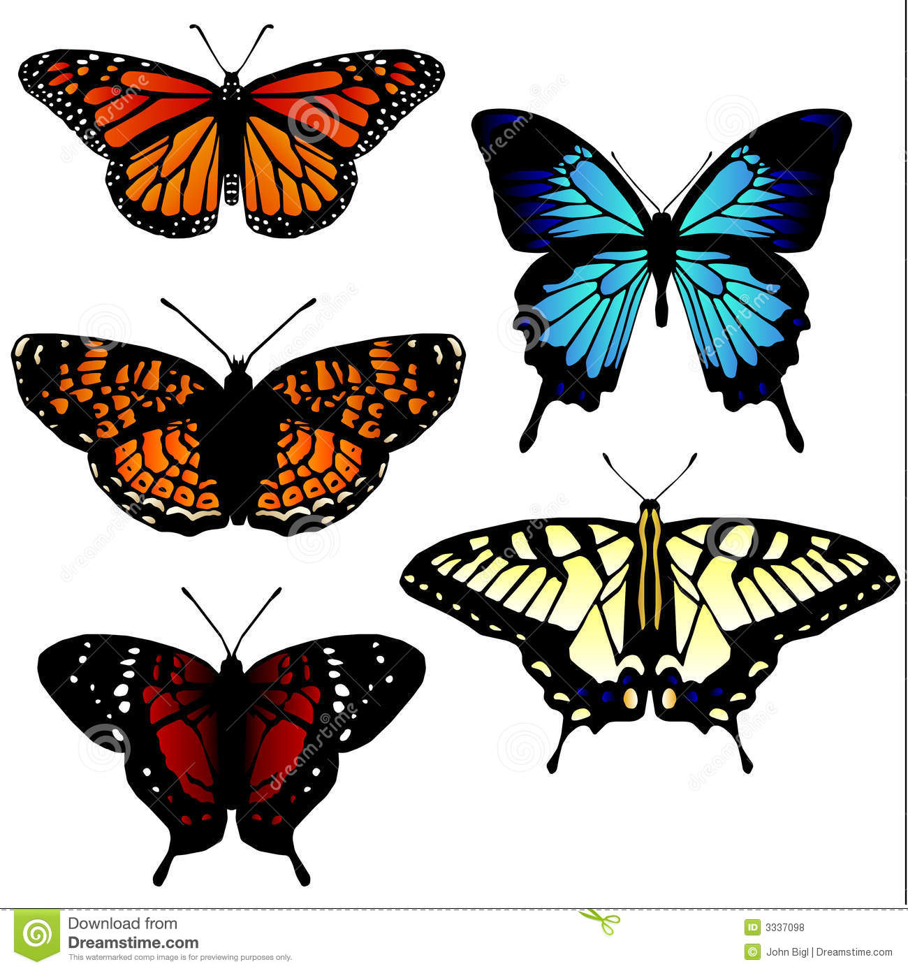 Butterfly Illustrations Royalty Free Stock Photos - Image: 3337098