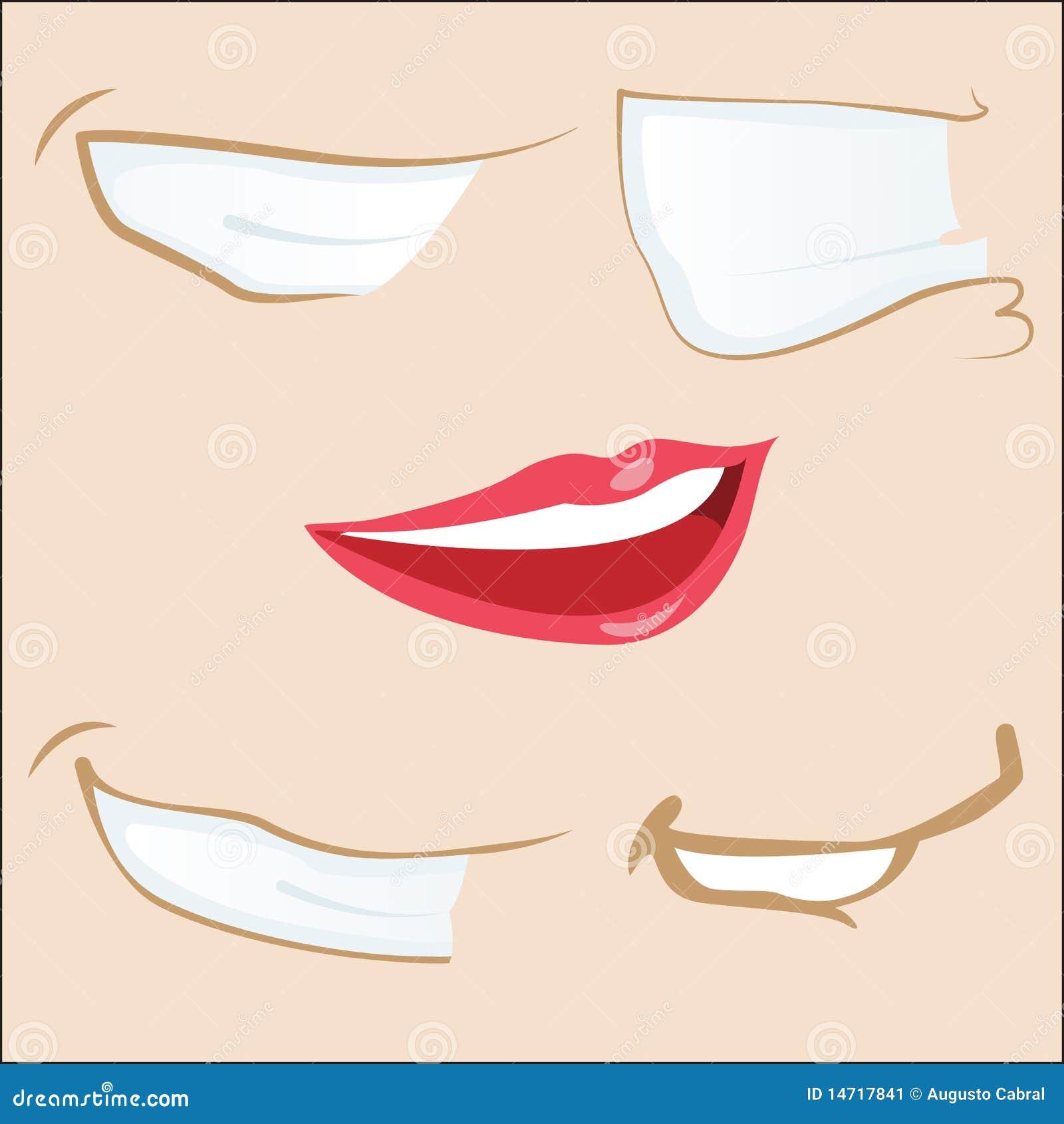 5 cartoon mouths.