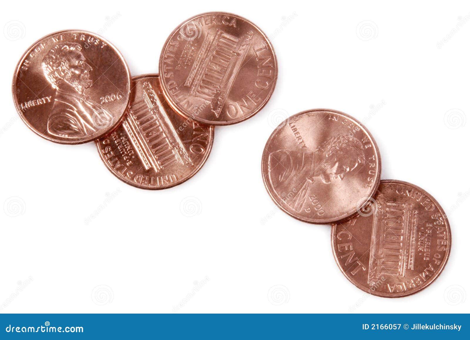 5 moedas de um centavo