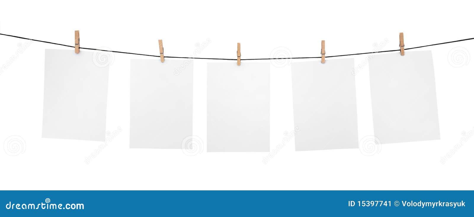 5 Saubere Blätter Auf Wäscheleine Stockbild - Bild: 15397741