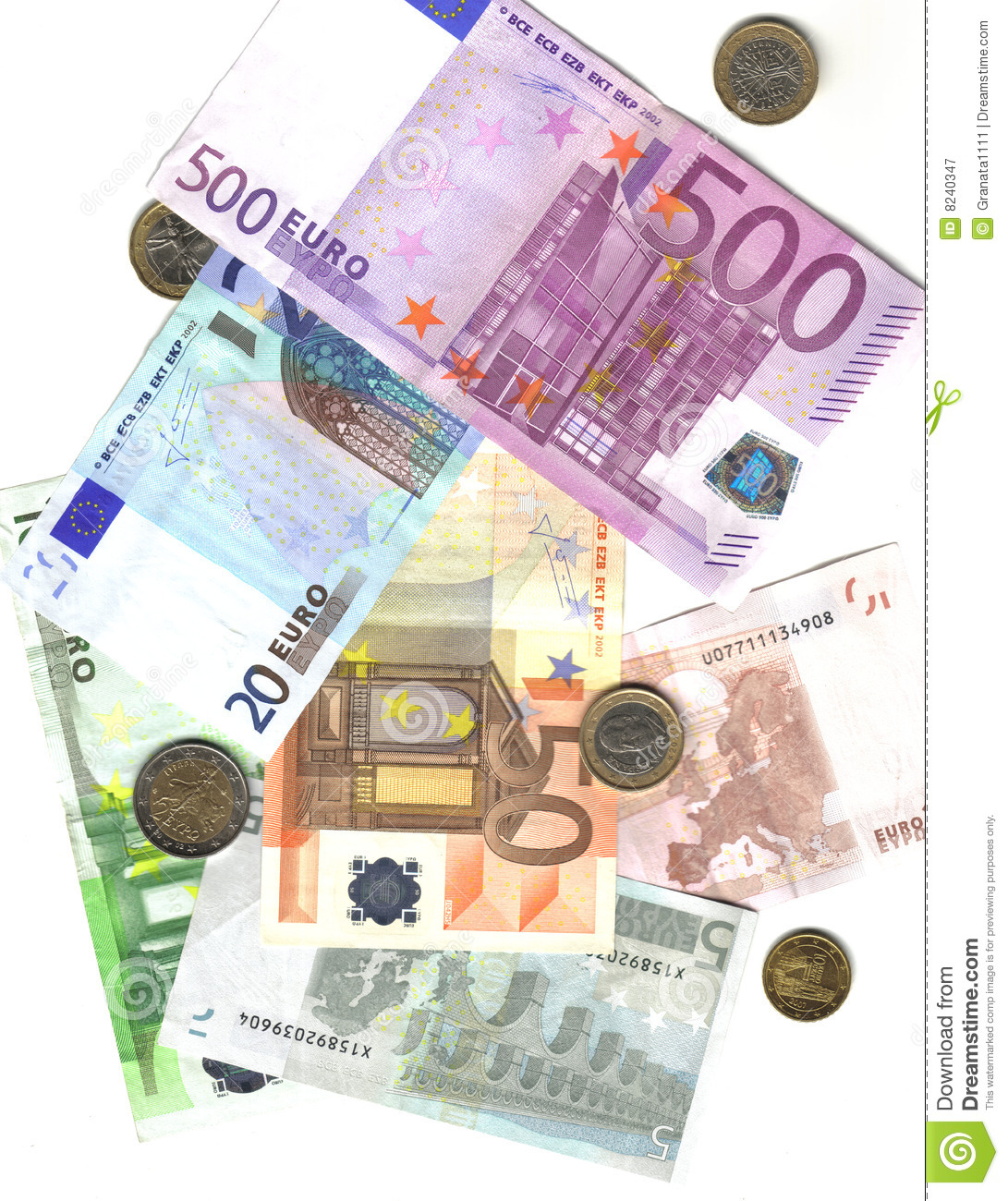 From 5 to 500 euro and coins