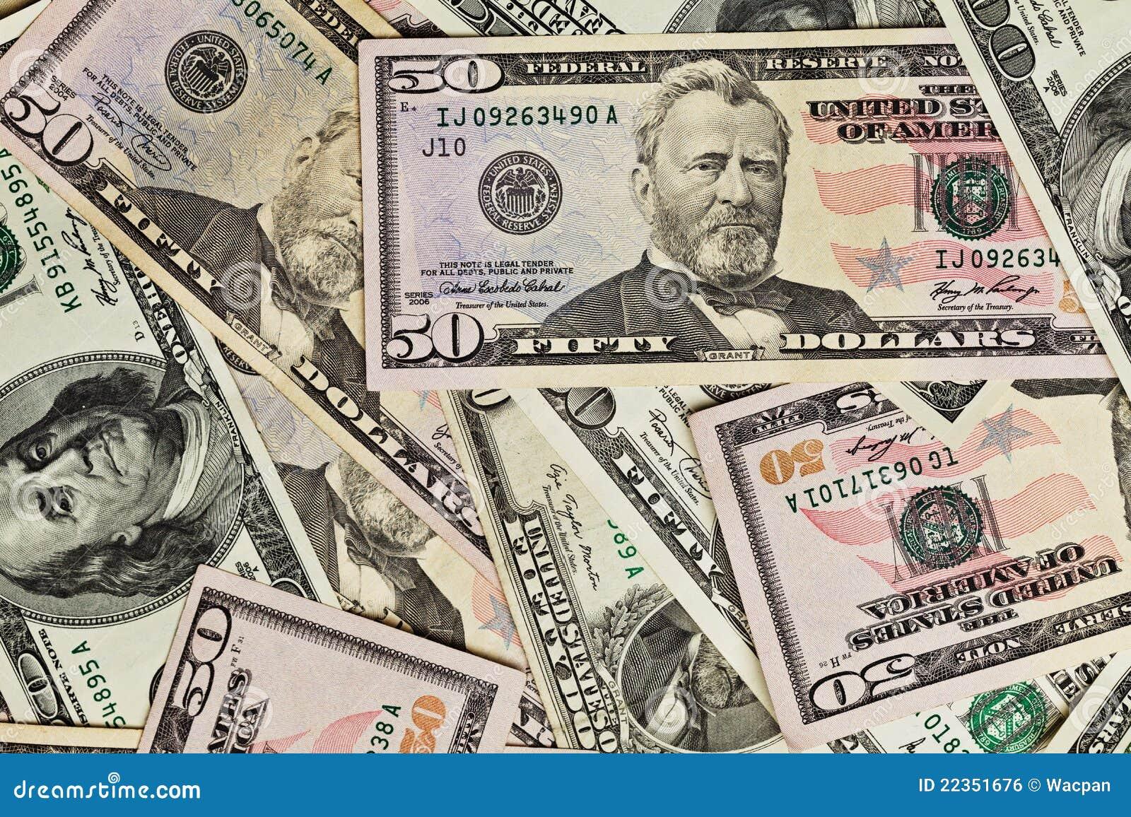 50个票据美元货币堆
