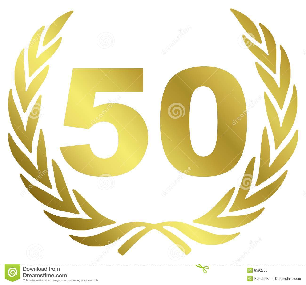 50 Anniversary illustration with laurel wreath.
