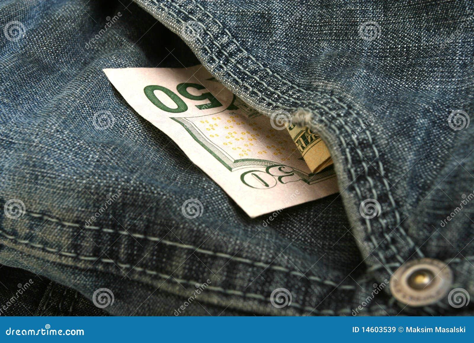 50 dollar bill in pocket of jean