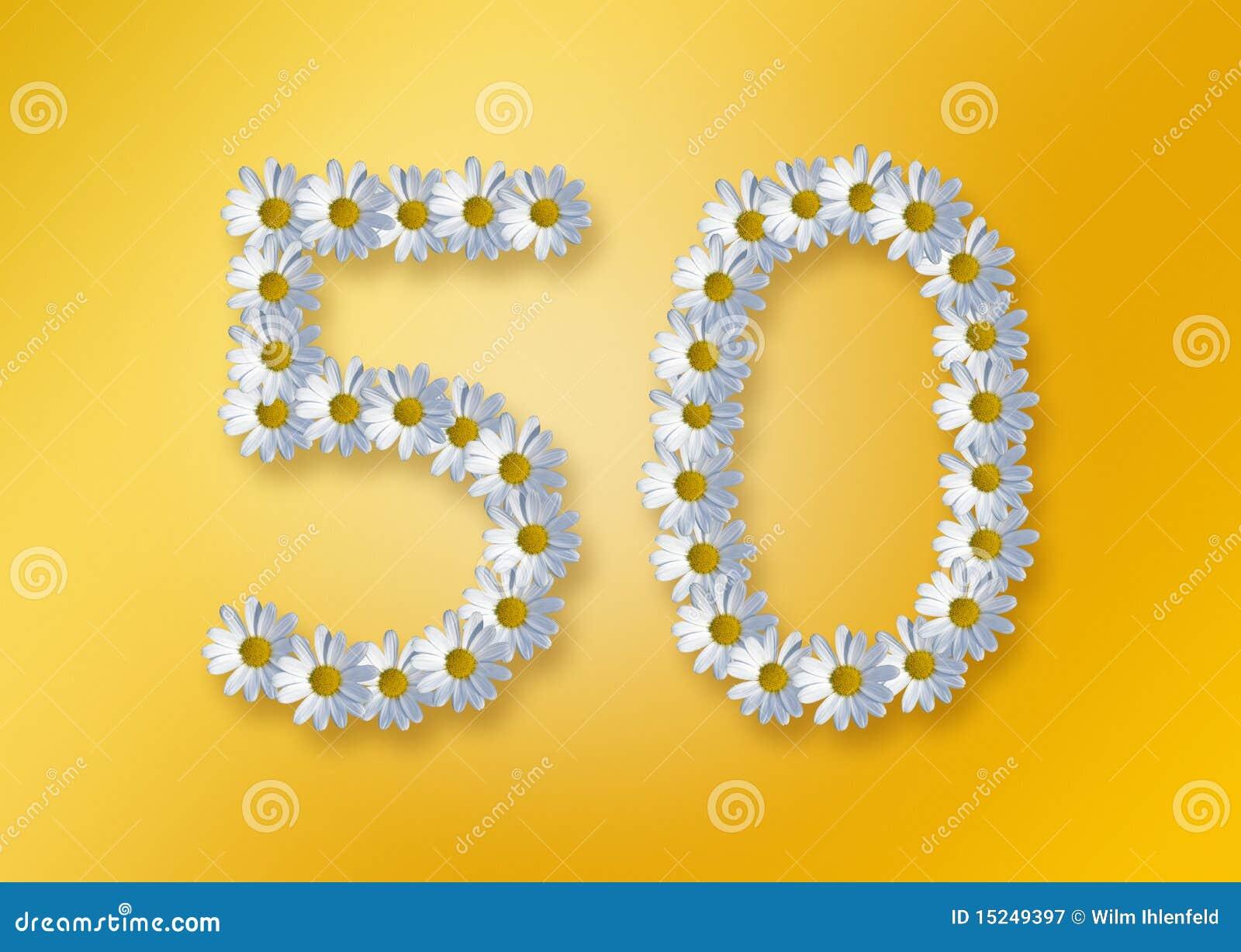 50 Geburtstag Stock Abbildung Illustration Von Blumen 15249397