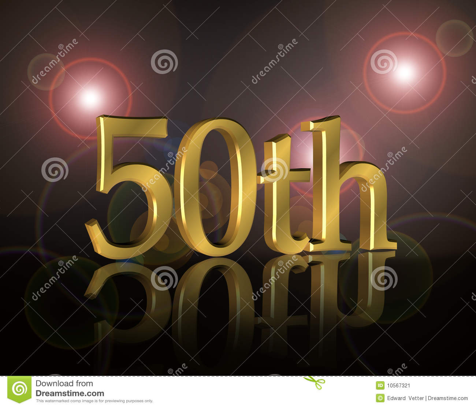 ... Zahl 50. des Gold 3D auf schwarzem Hintergrund mit hellen Brechungen