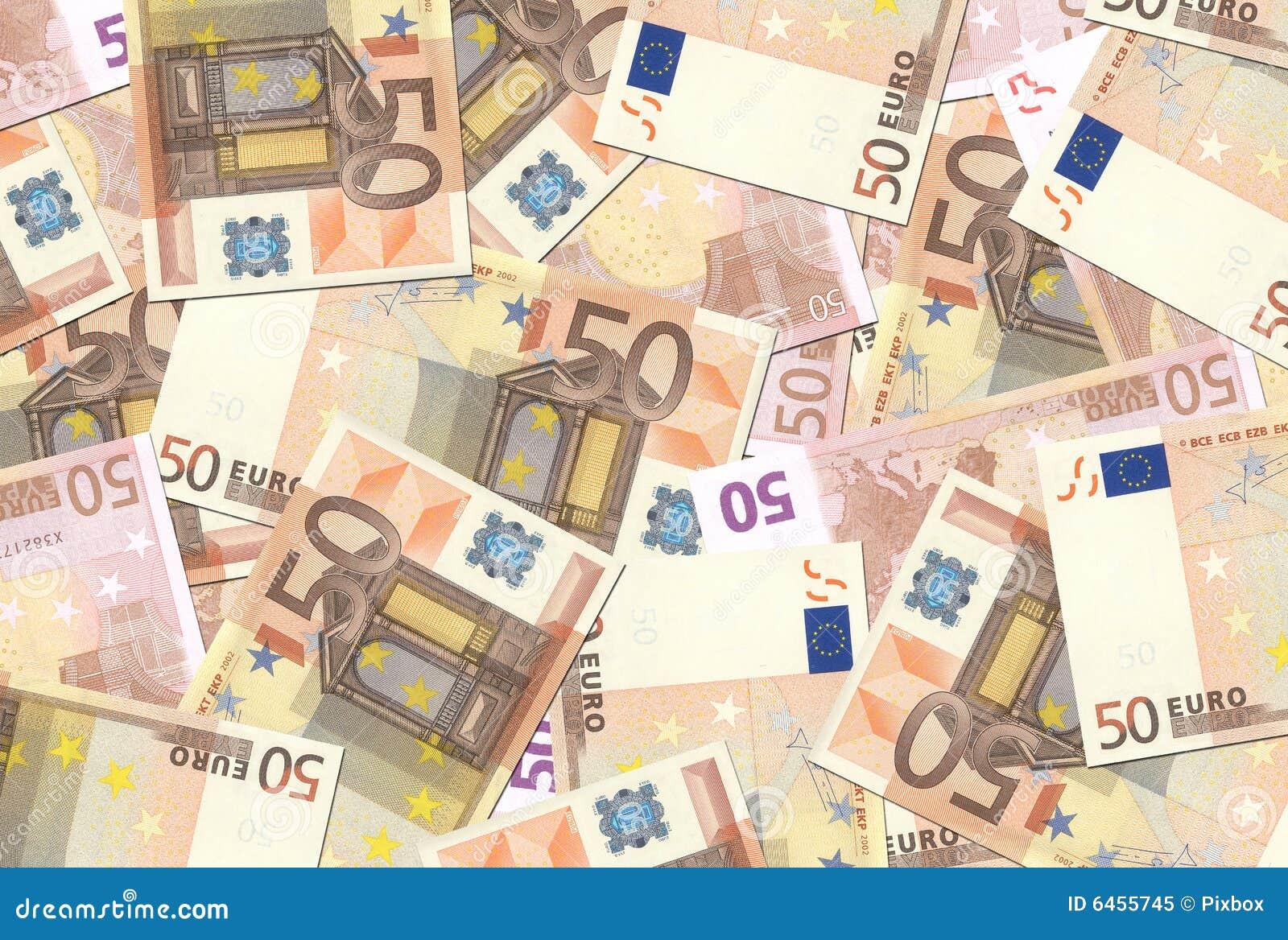 50 konsystencja euro notatek.
