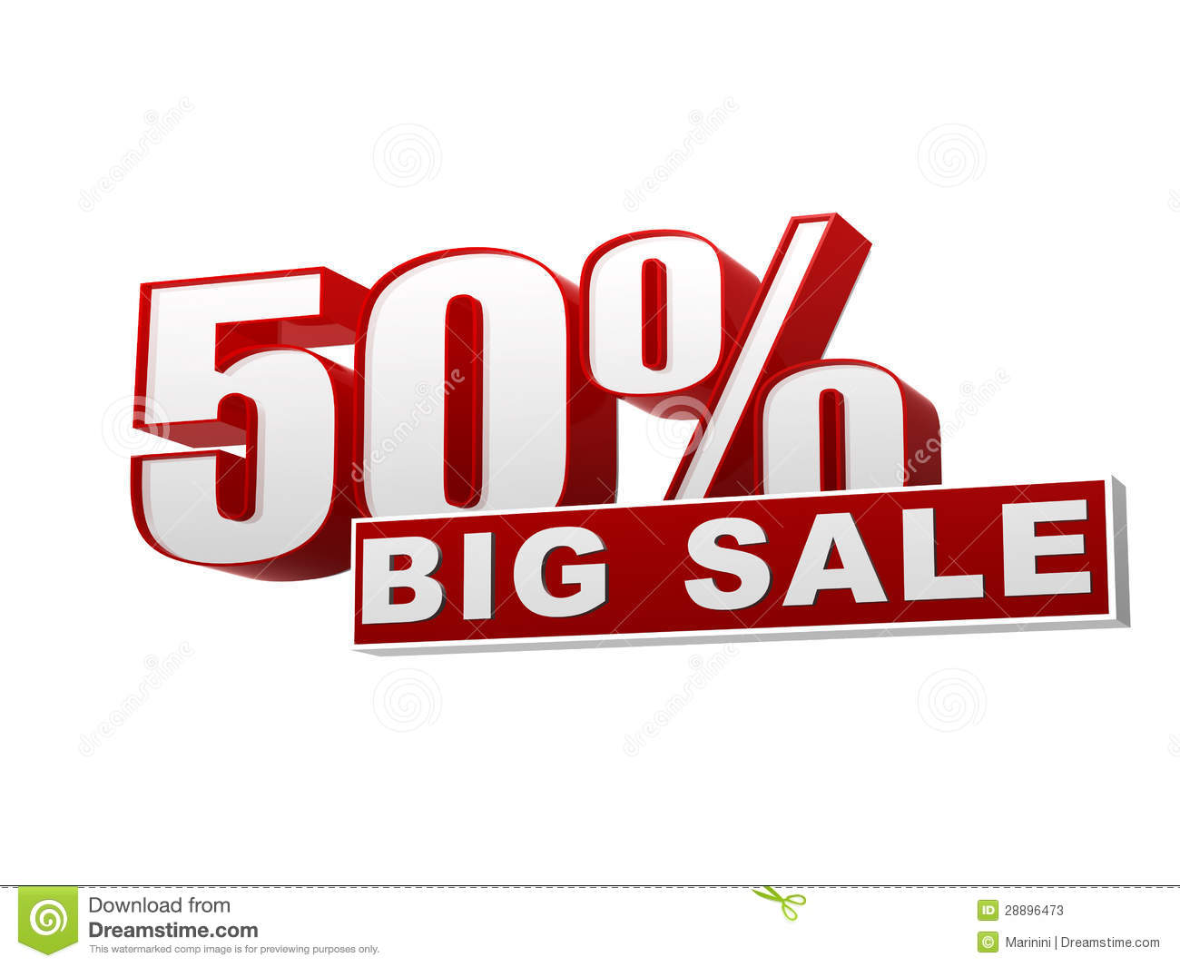 50 percentages big sale red white banner letters and for Large photos for sale