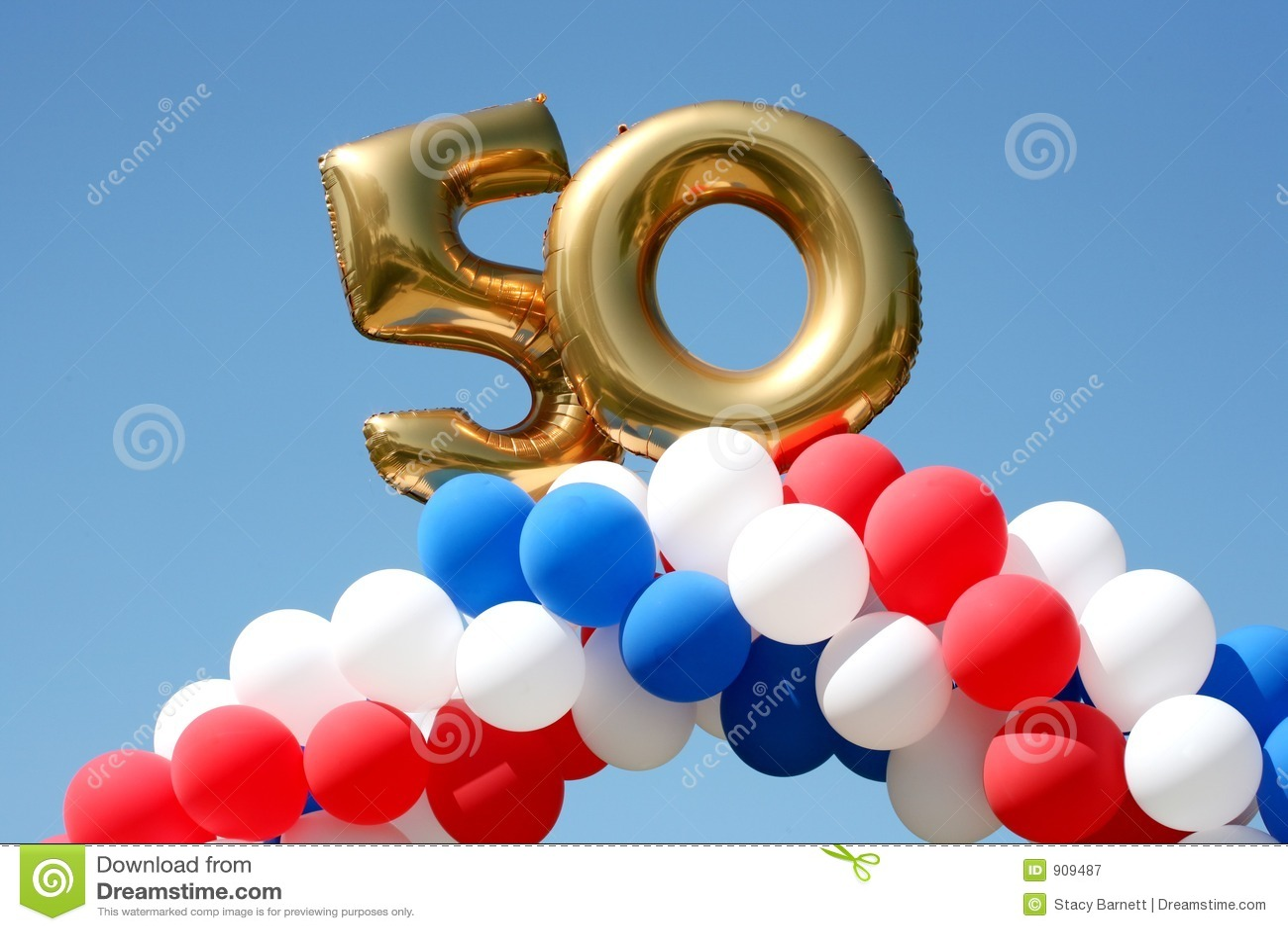 50 Year Celebration Balloons Royalty Free Stock