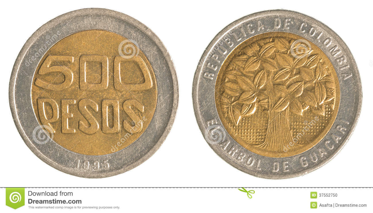 500 Colombian Pesos Coin Stock Photo Image 37552750