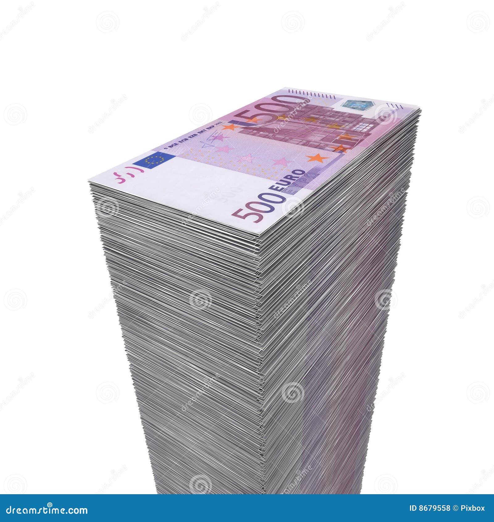 500 duży euro pieniądze notatek stos