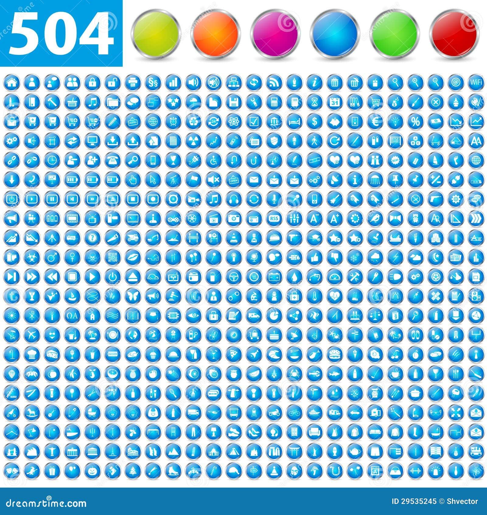 504 ícones lustrosos