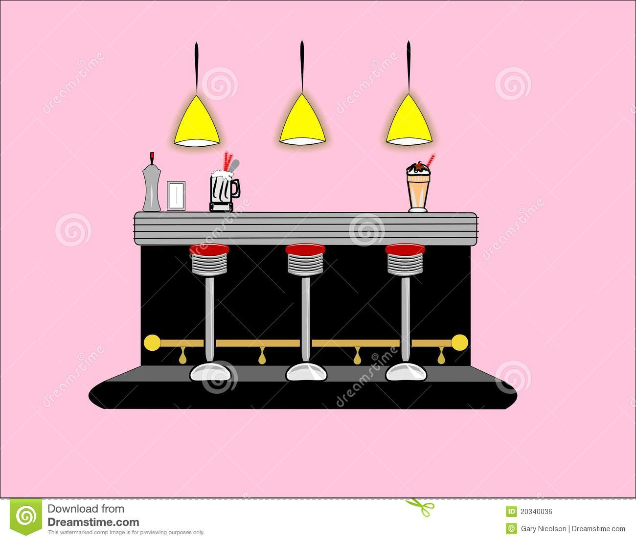 50s Diner Interior Stock Illustration Image Of Enamel
