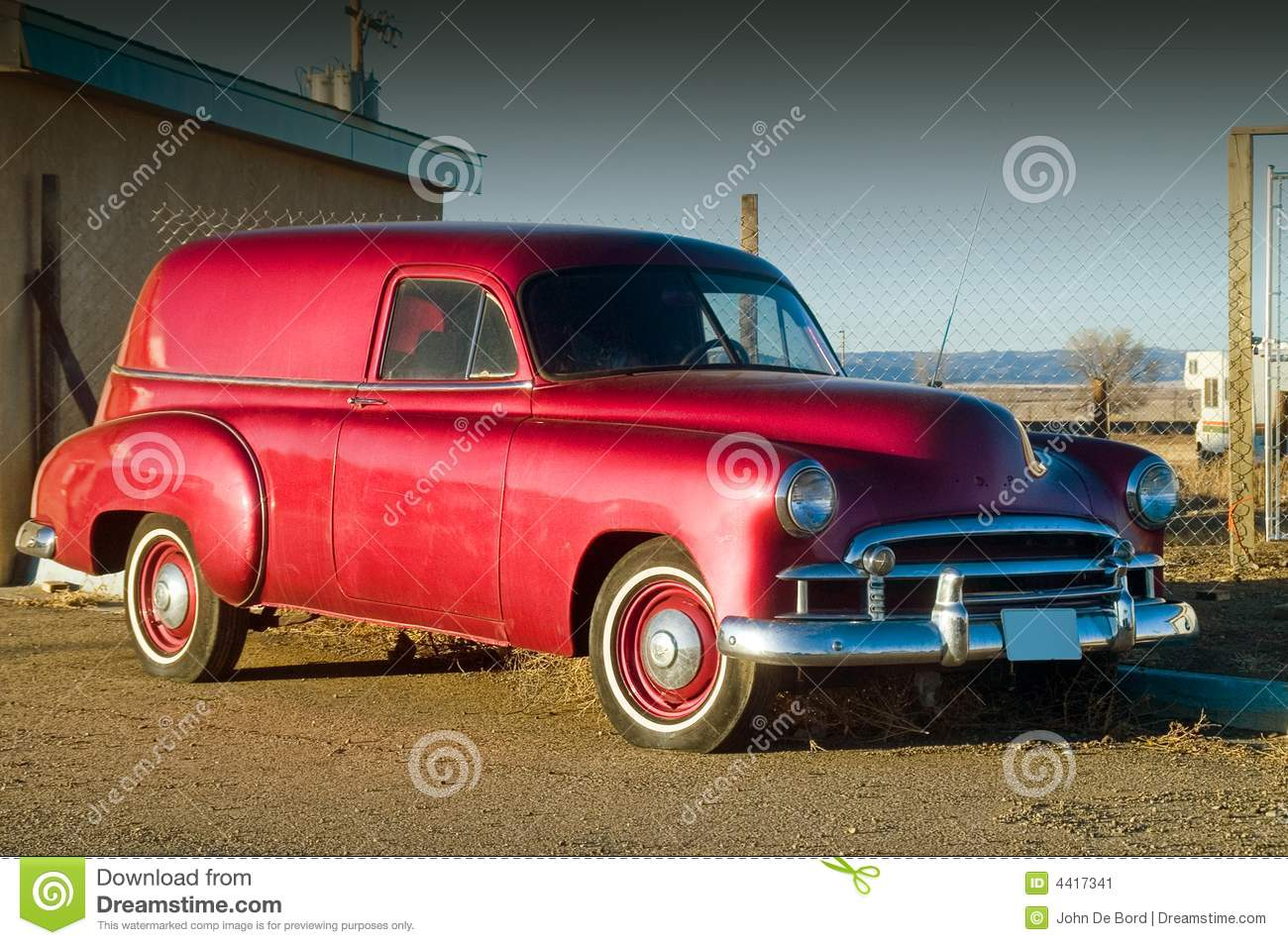 50s Red Hotrod Panel Car Stock Image Image 4417341