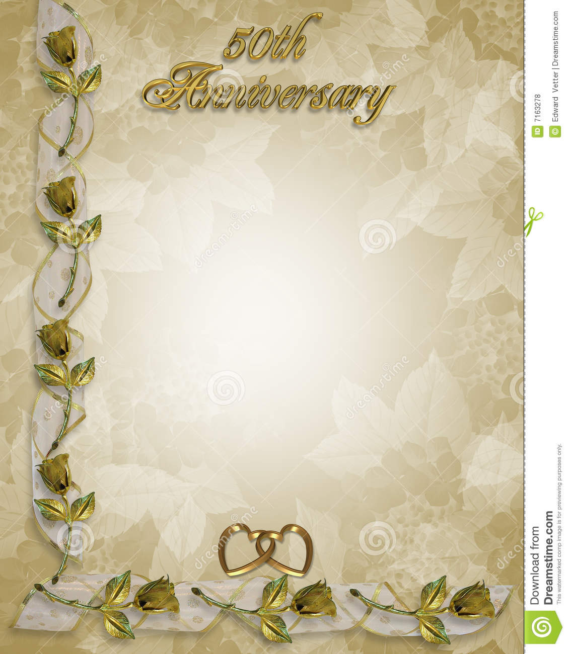 50th Anniversary Border Roses Stock Illustration Illustration Of