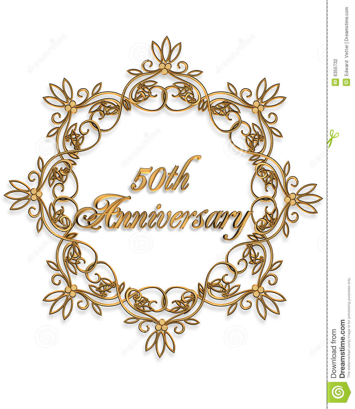 50th anniversary gold design element for card or invitation, favor art ...