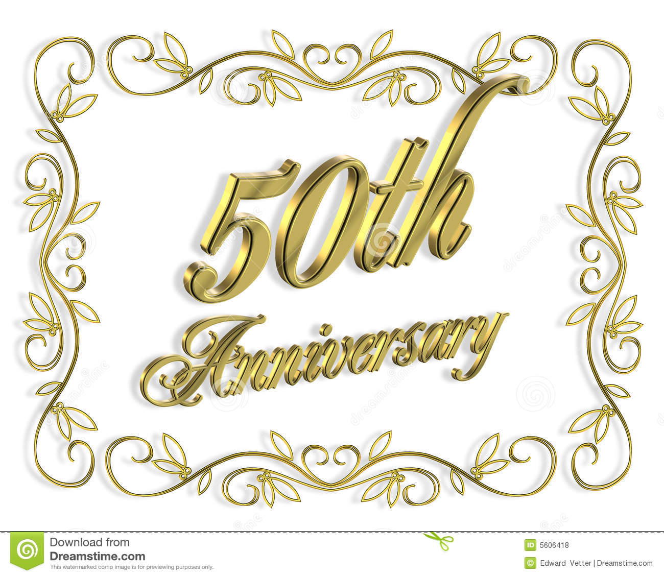 50th anniversary invitation 3d illustration stock illustration