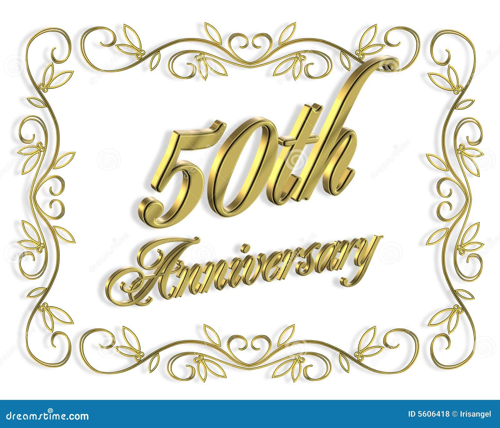 Happy 50th Wedding Anniversary 50th anniversary invitation 3d