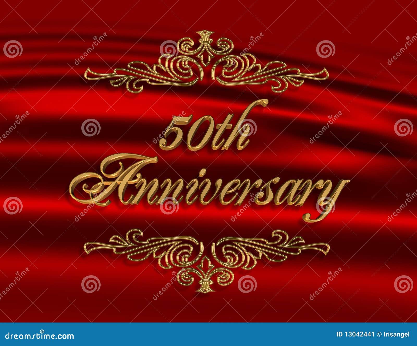 50Th Anniversary Invitation Red Stock Illustration - Illustration of ...