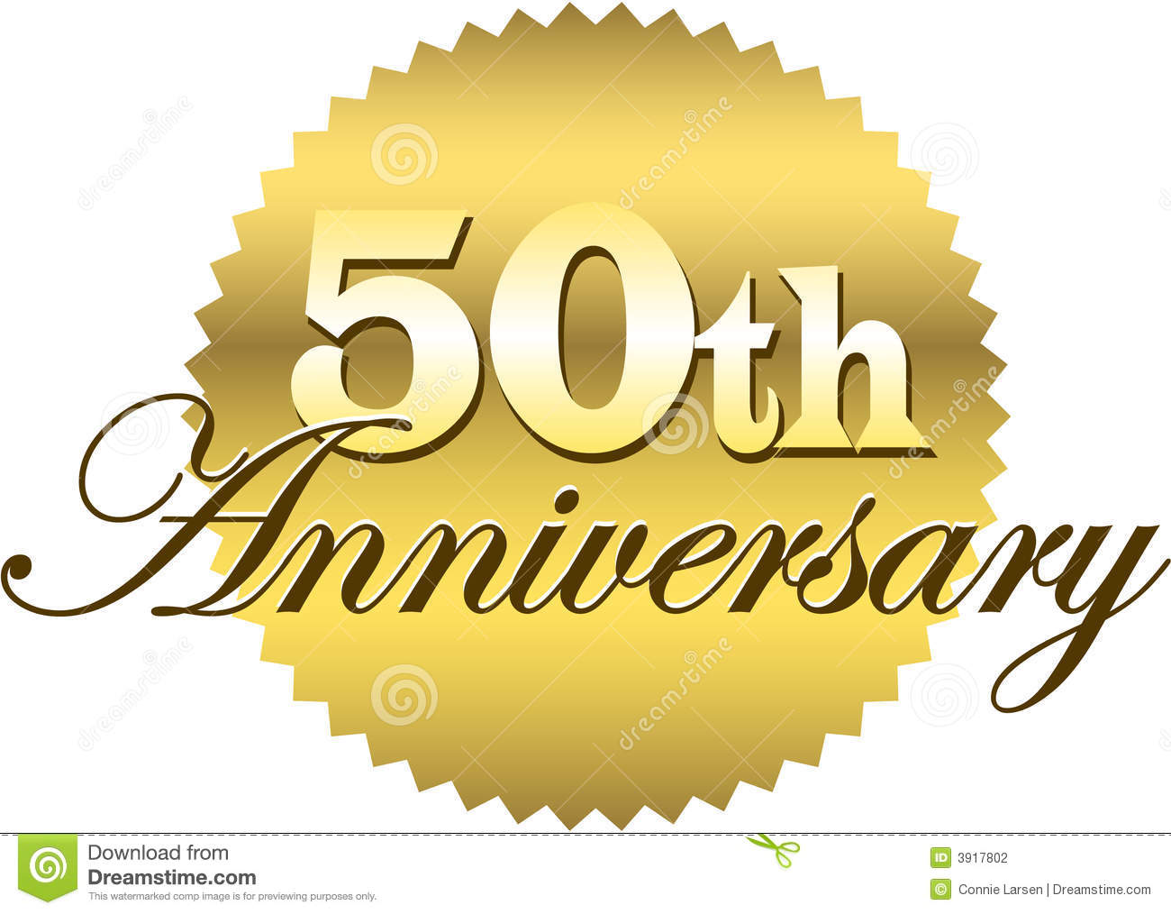Illustration of a golden seal with the inscription 50th anniversary